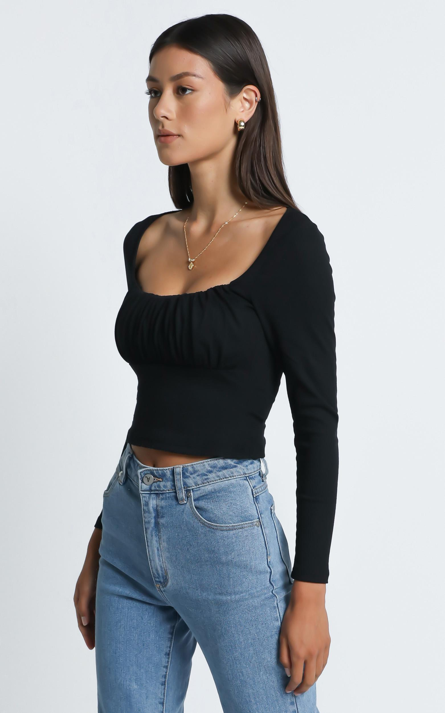 Maya Longsleeve Top in Black - 6 (XS), Black, hi-res image number null