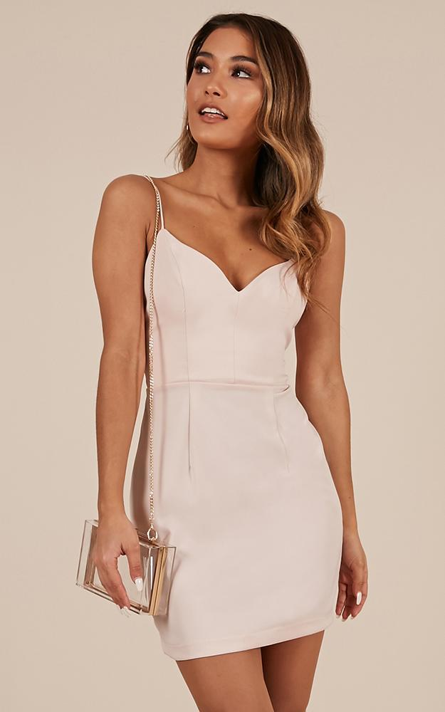 Fool For Temptation Dress In Nude Satin - 14 (XL), Blush, hi-res image number null