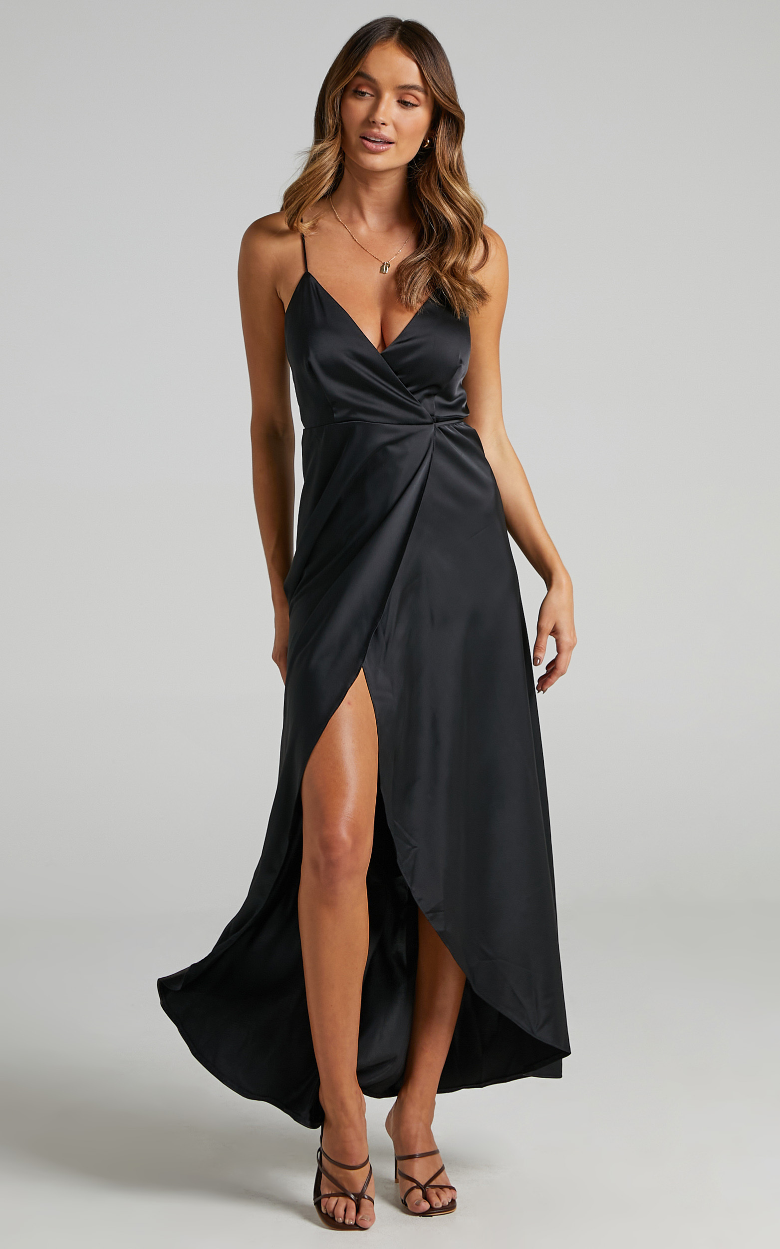 Mine Would Be You Dress in Black Satin - 06, BLK1, hi-res image number null