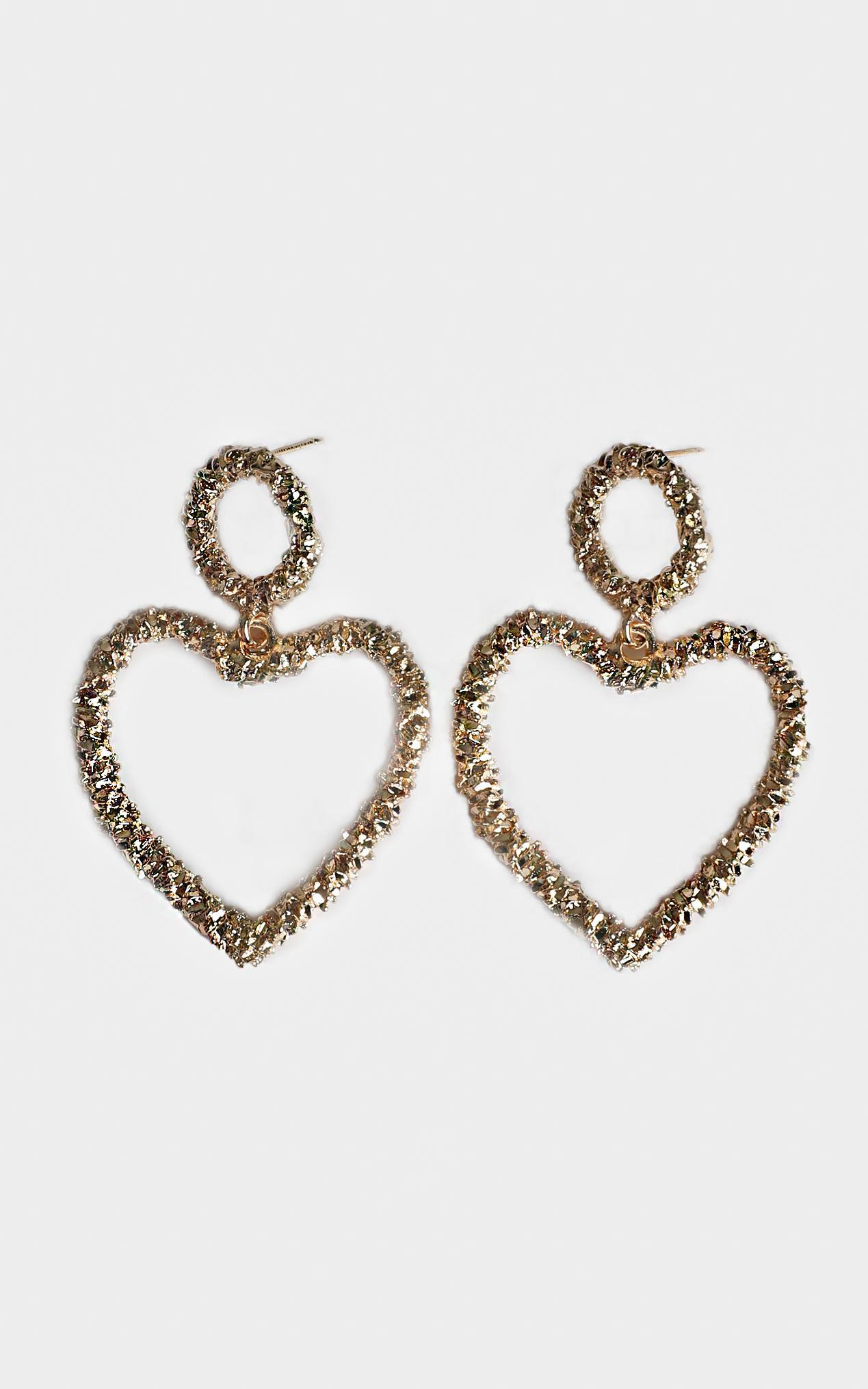 Distant Romance Heart Earrings In Gold, , hi-res image number null