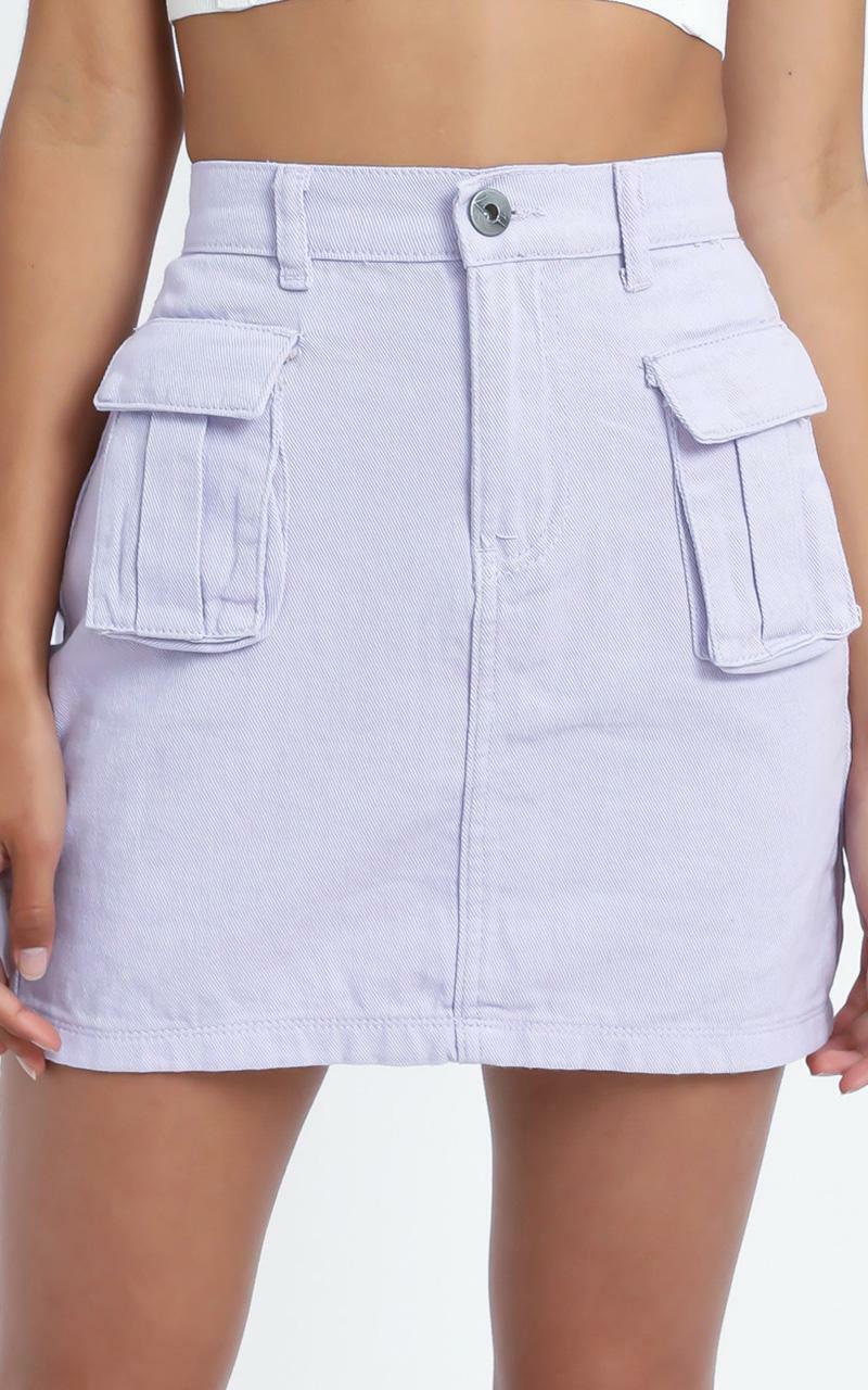 Mendez Denim Skirt in Lilac - 14 (XL), Purple, hi-res image number null