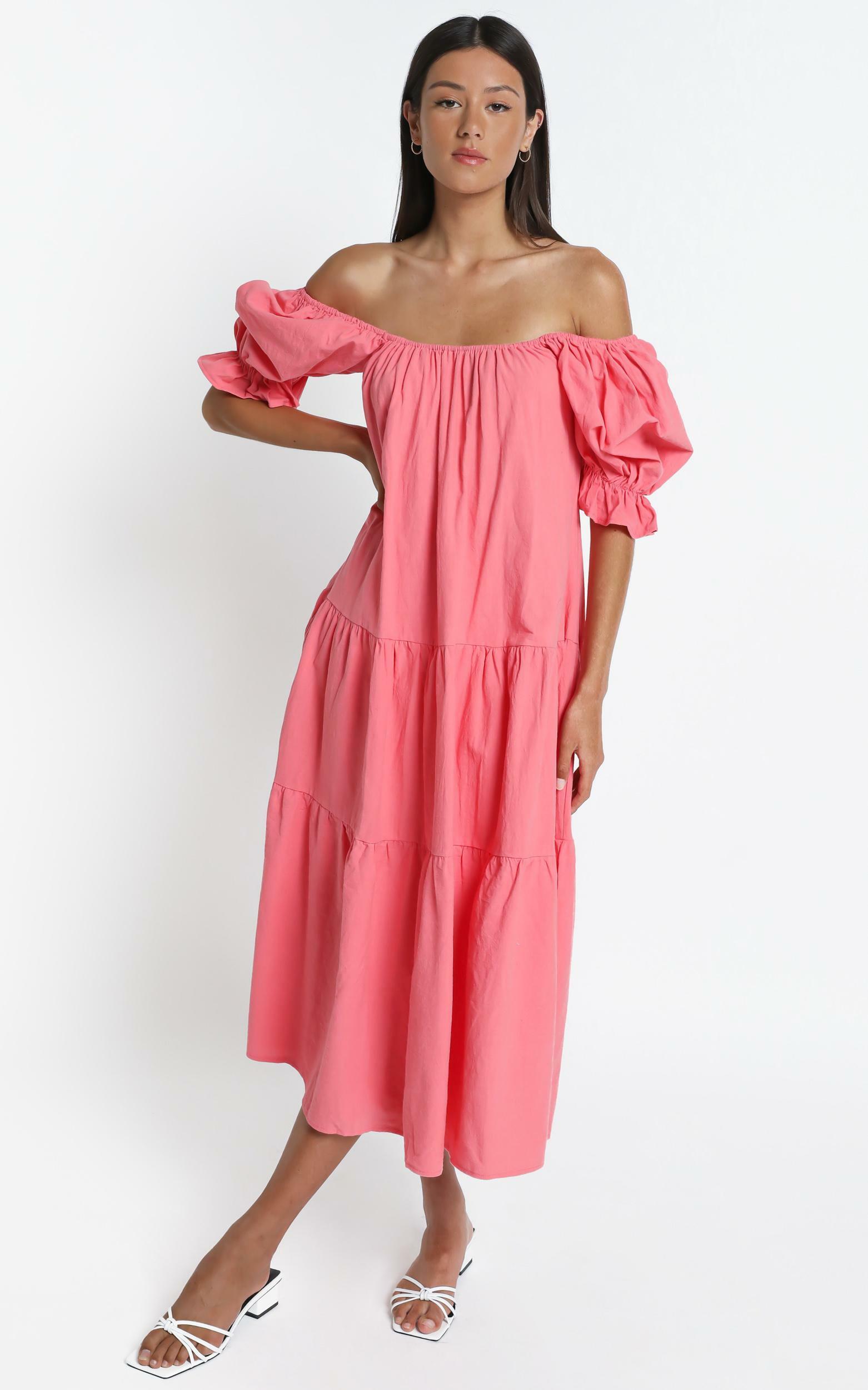 Zaharrah Dress in Coral Linen Look - 6 (XS), PNK14, hi-res image number null