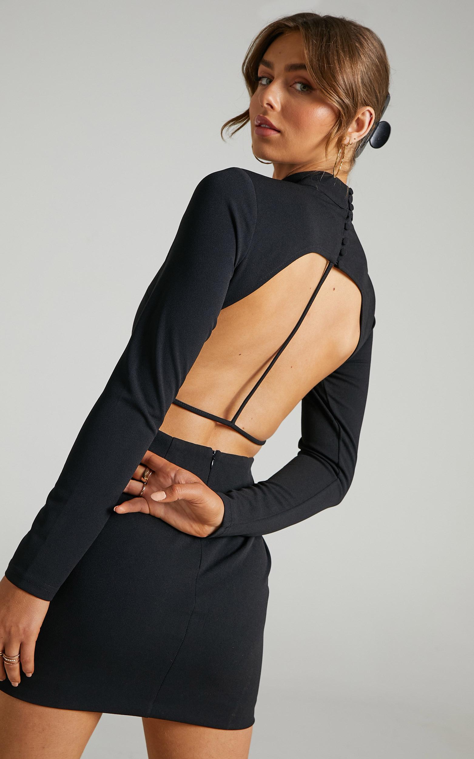 Eden Open Back Mini Bodycon Dress in Black - 06, BLK1, hi-res image number null