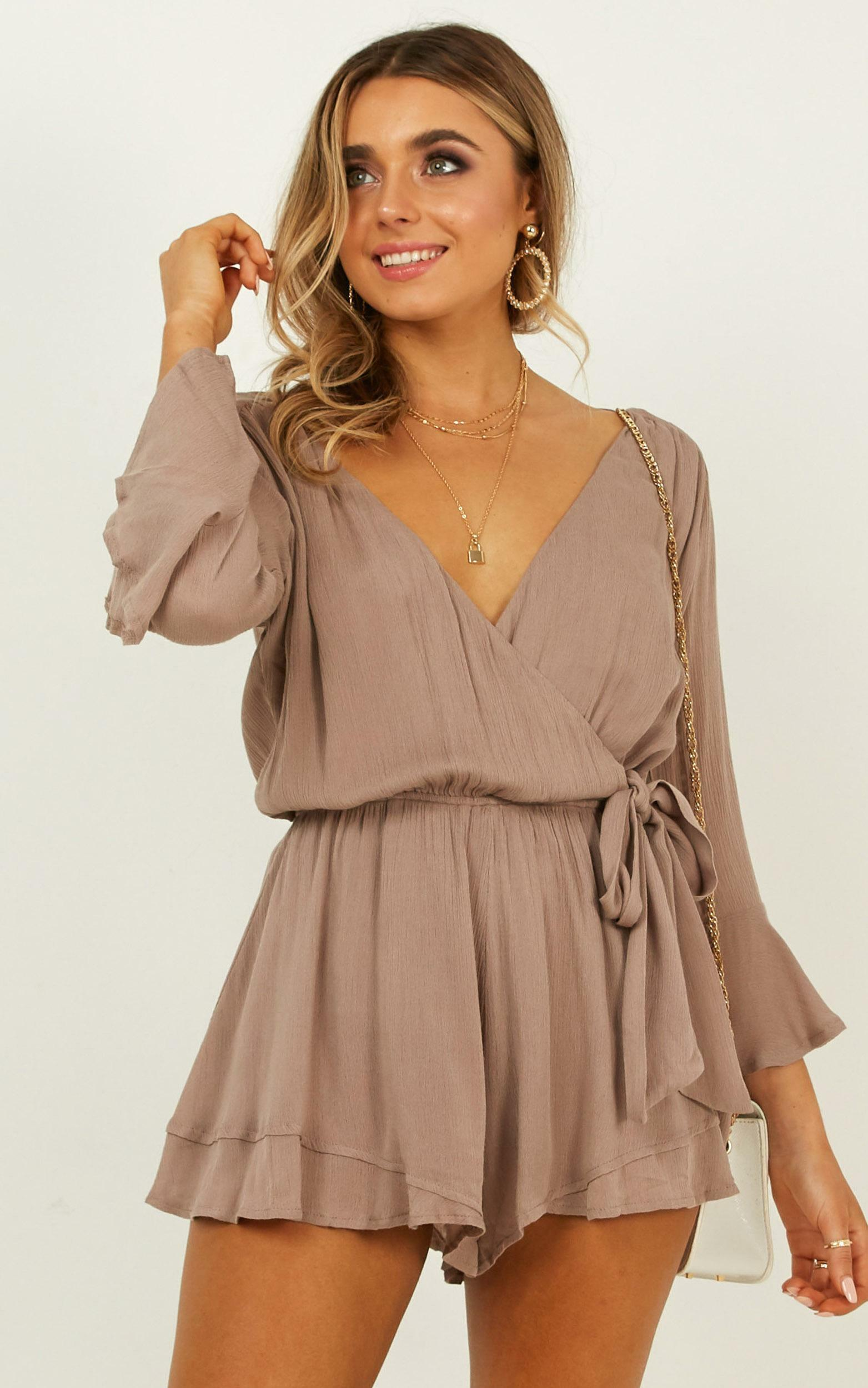 Sunday Breeze Playsuit in Taupe - 14, BRN2, hi-res image number null