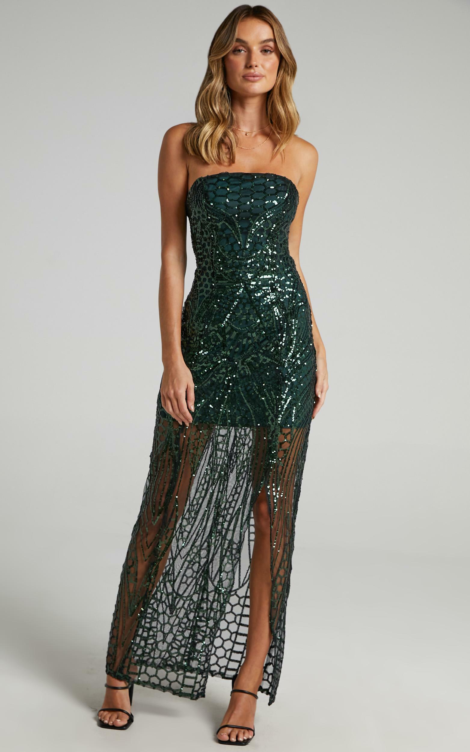 American Hero Maxi Dress In emerald sequin - 20 (XXXXL), Green, hi-res image number null