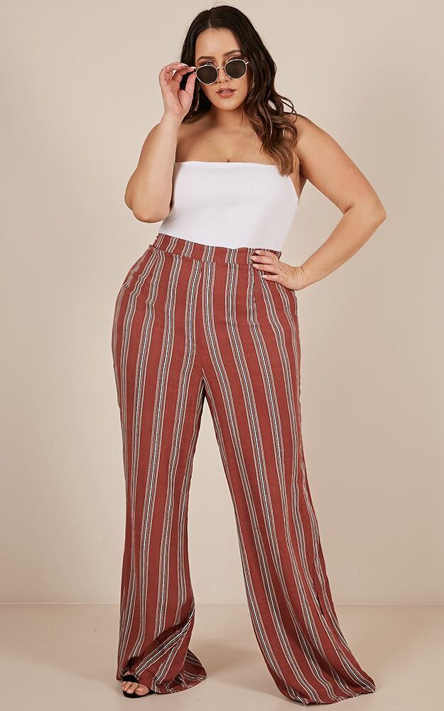 Time To Myself Pants in Rust Stripe  - 20 (XXXXL), Rust, hi-res image number null