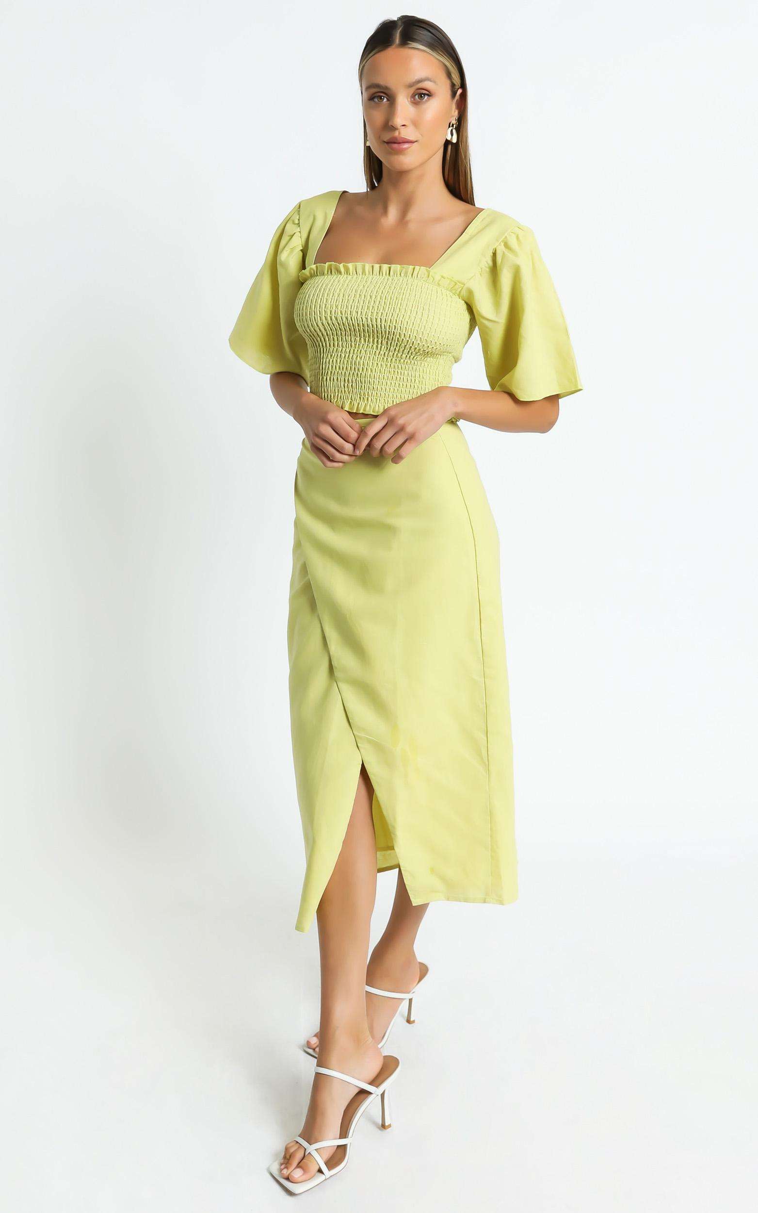 Charlie Holiday - Mila Wrap Skirt in Chartreuse - XS, Yellow, hi-res image number null