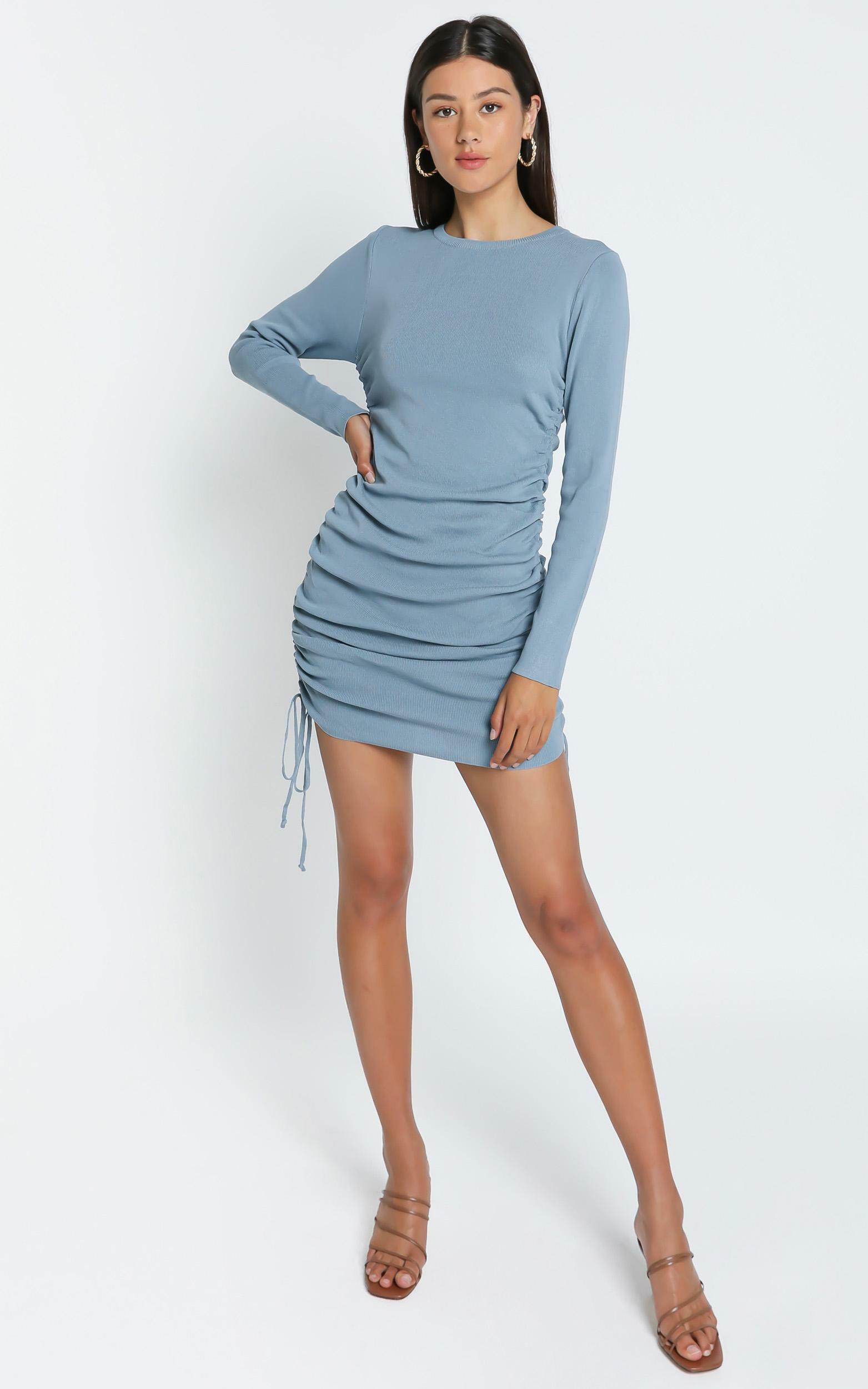 Lioness - Military Minds Long Sleeve Dress in Dusty Blue - 4 (XXS), BLU1, hi-res image number null