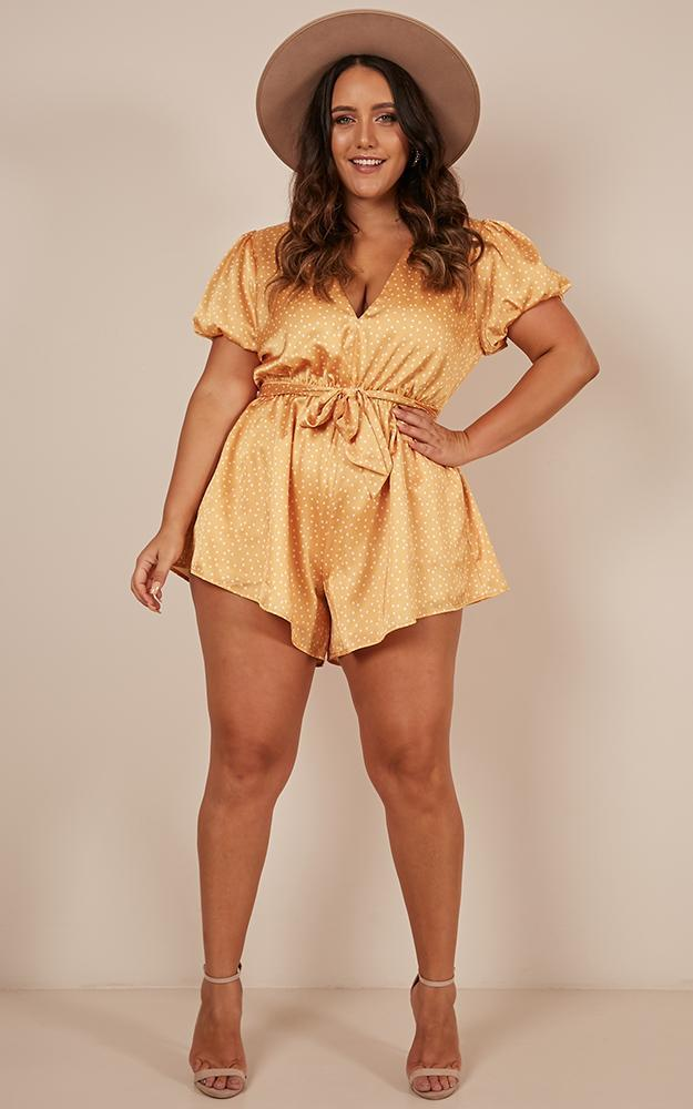 Hello Its Me Playsuit in mango spot satin - 12 (L), Yellow, hi-res image number null