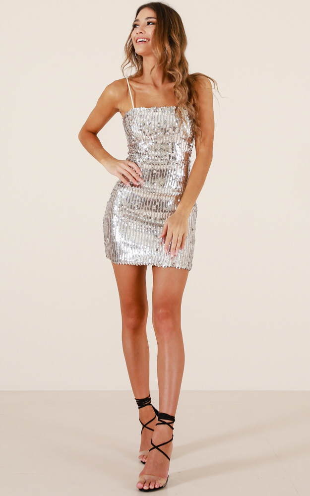 A Million Hearts dress in silver sequin - 8 (S), Silver, hi-res image number null