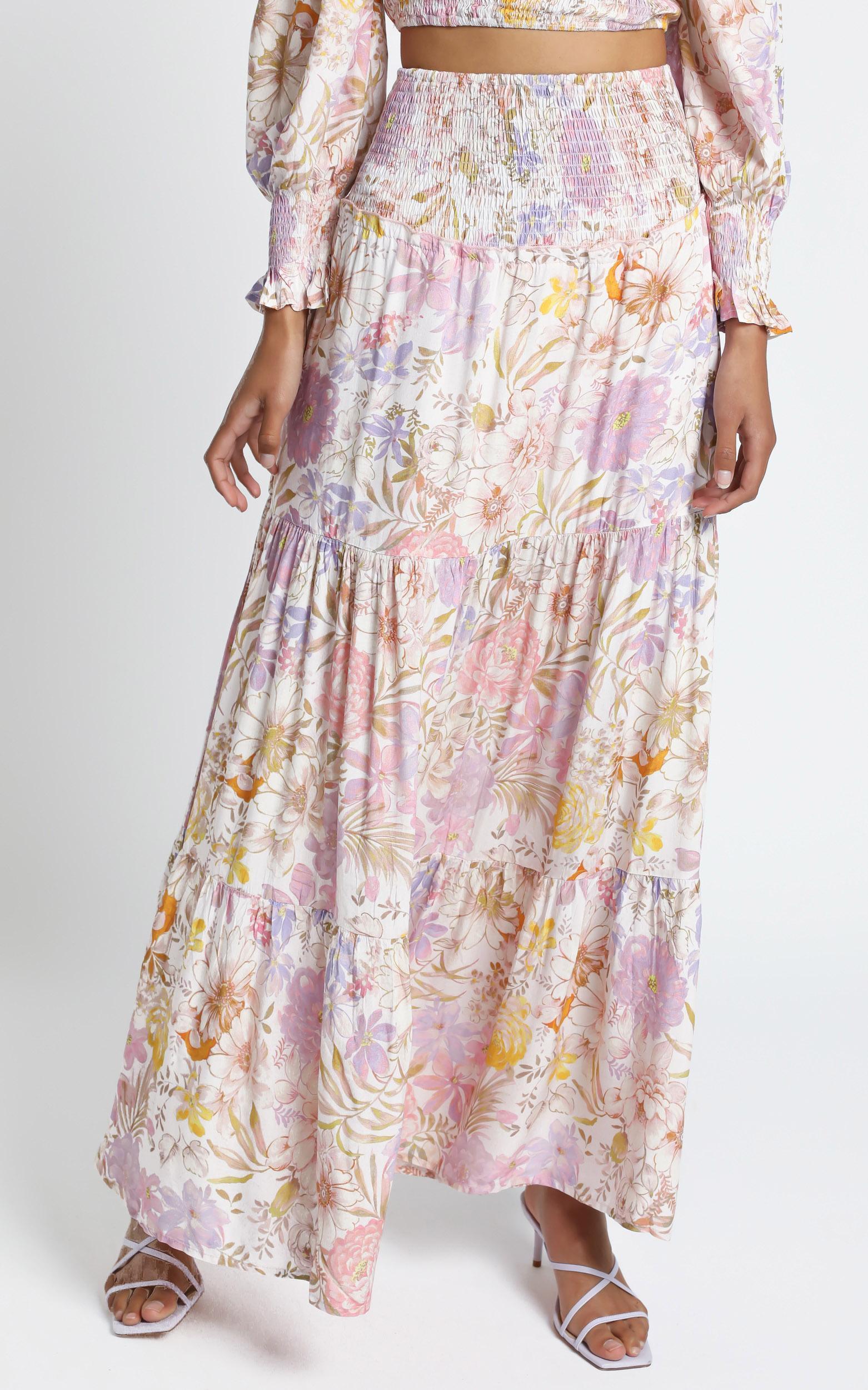 Autumn Skirt in Vintage Floral - 14 (XL), Cream, hi-res image number null