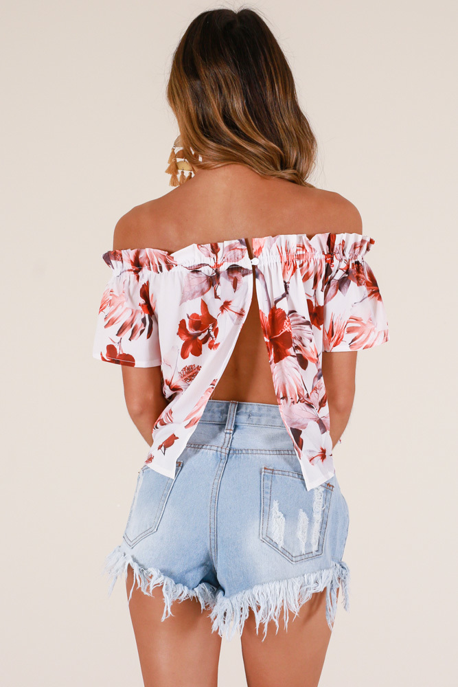 Fickle Heart top in white floral - 12 (L), White, hi-res image number null