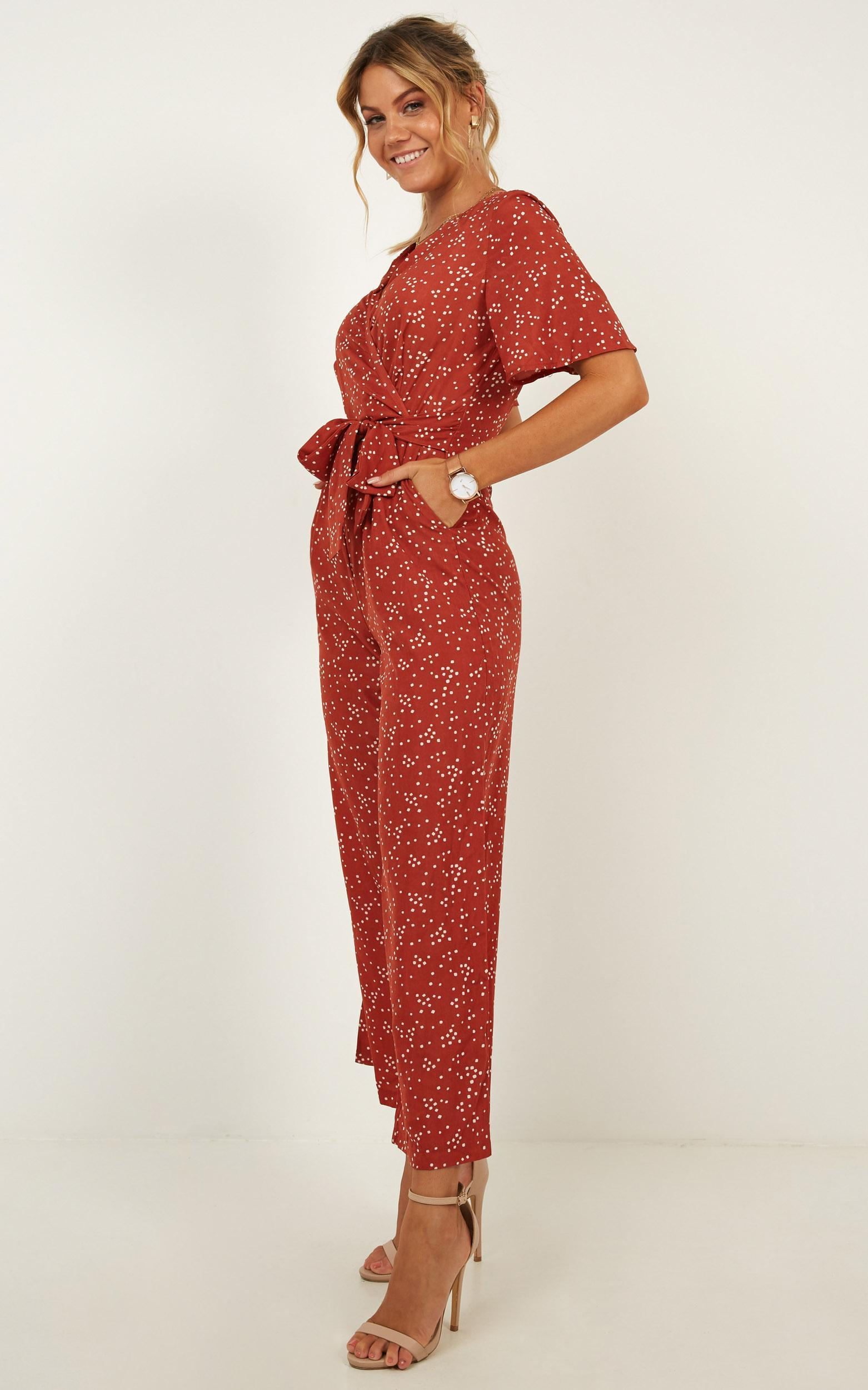 Due In Jumpsuit In Rust Spot - 4 (XXS), Rust, hi-res image number null