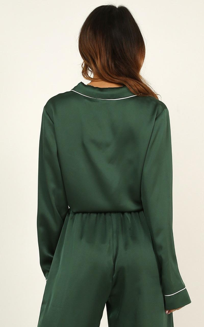 Lover Of Sleep Top In emerald satin - 18 (XXXL), Green, hi-res image number null