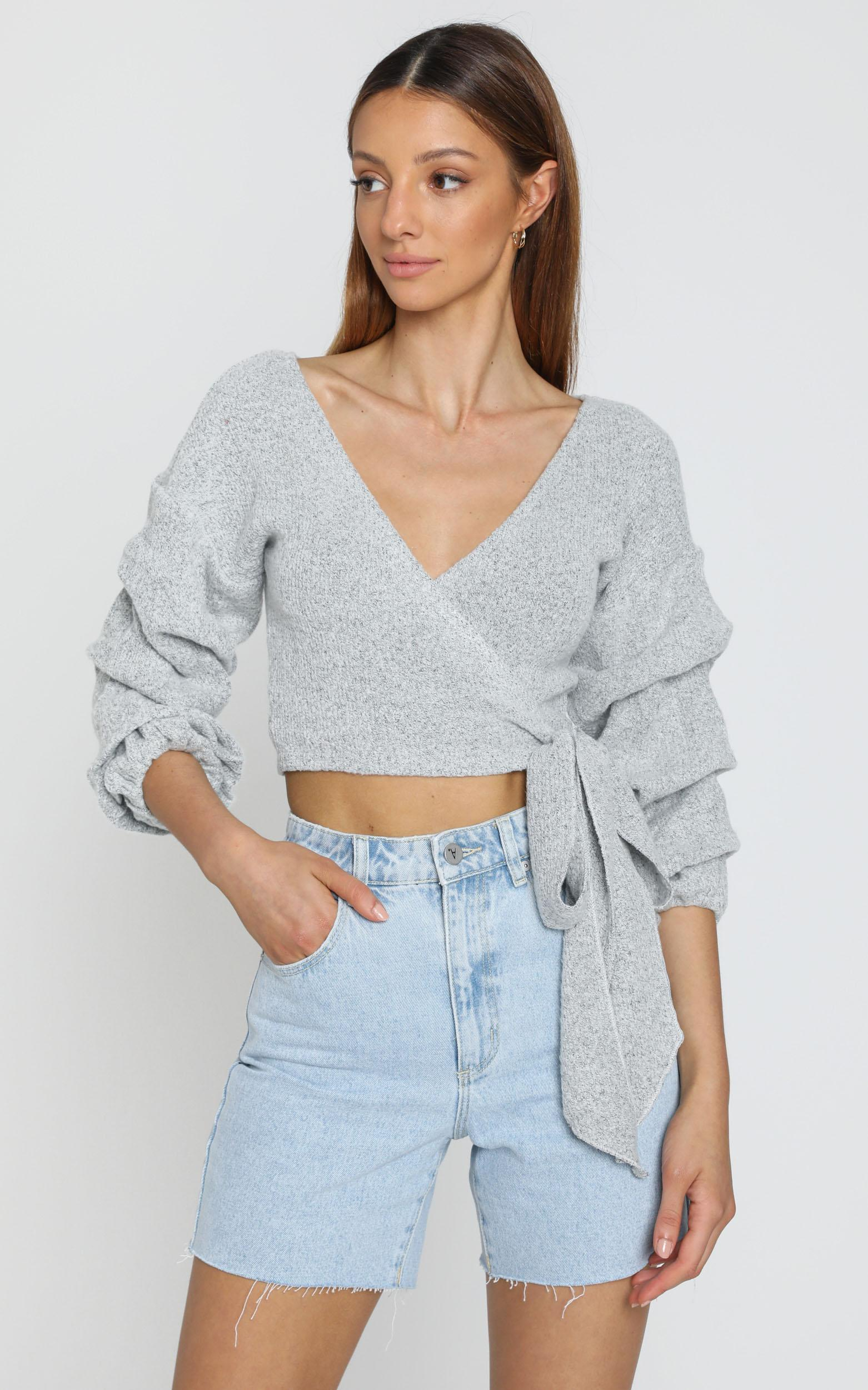 Good Decisions knit top in grey - 12 (L), Grey, hi-res image number null