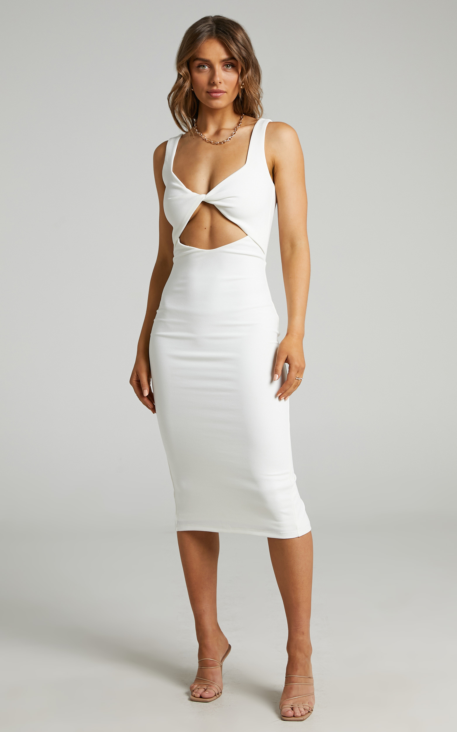 Coyote Twist Detail Midi Dress in White - 04, WHT2, hi-res image number null