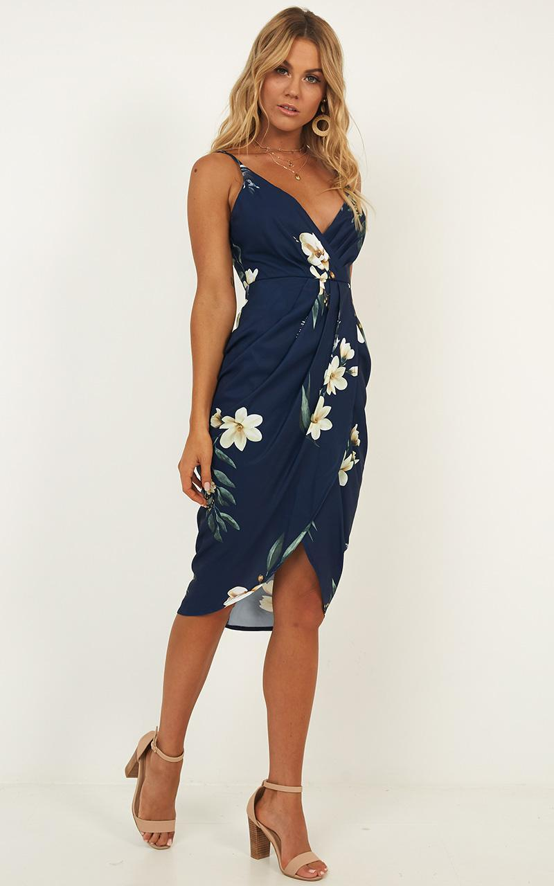 Alive Now Dress in navy floral - 12 (L), Navy, hi-res image number null