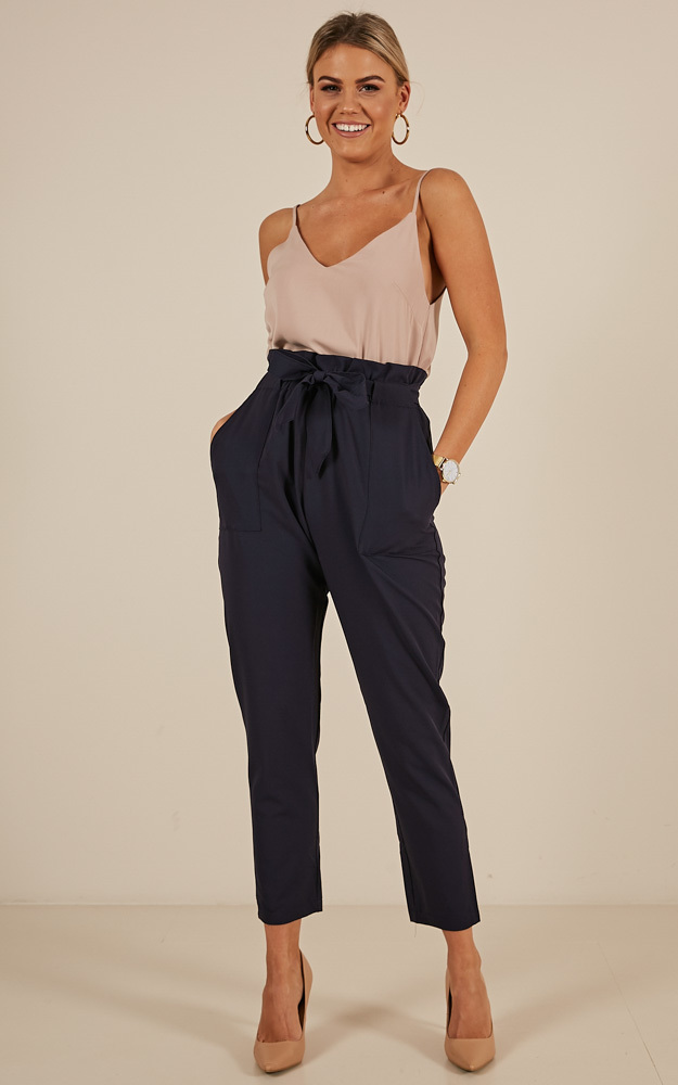 Work Up pants in navy floral - 14 (XL), Navy, hi-res image number null