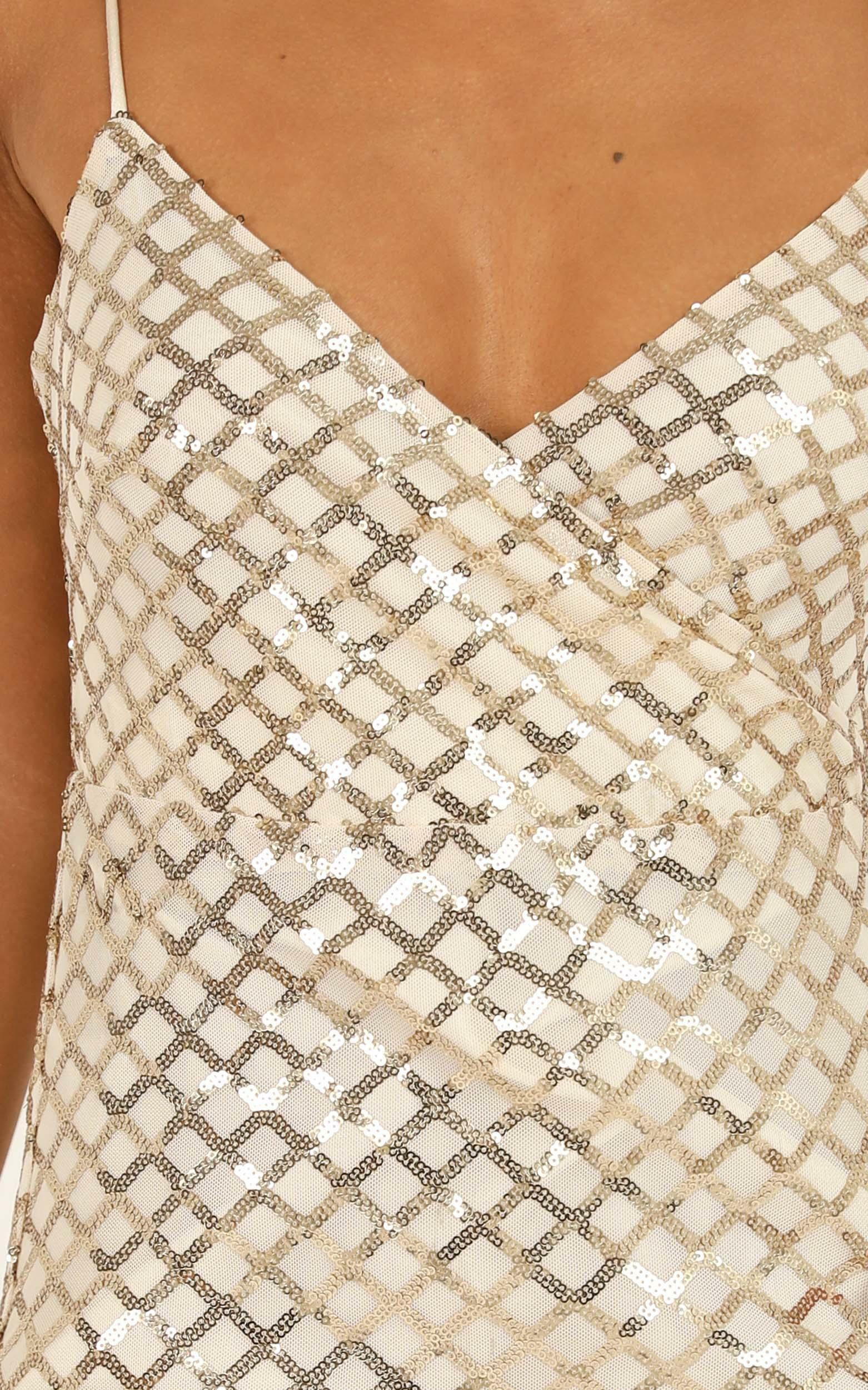 Right Hand Chick Dress in gold sequin - 20 (XXXXL), Gold, hi-res image number null