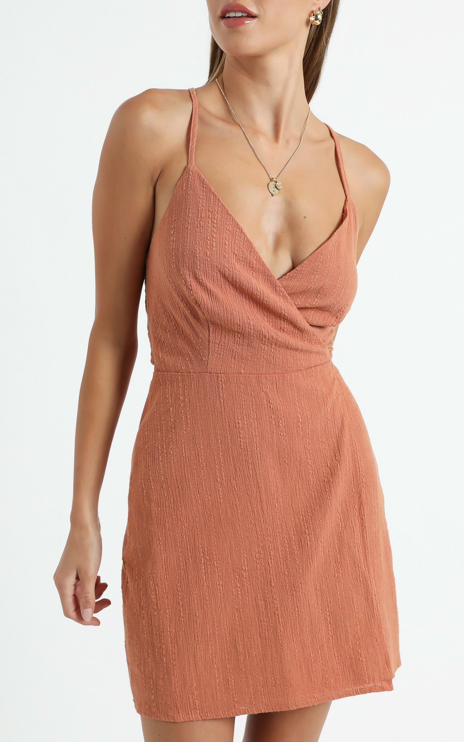 Whisper It Dress in rust linen look - 20 (XXXXL), Rust, hi-res image number null