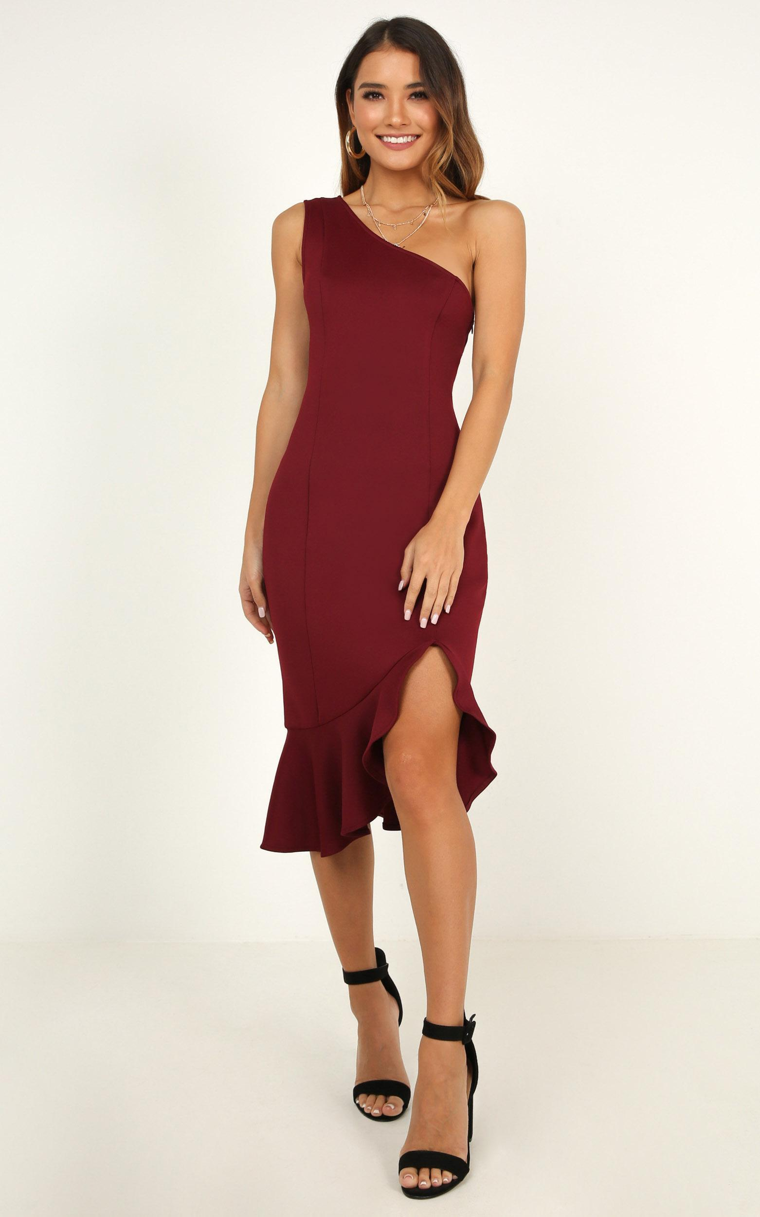 Stripped Back Dress in wine - 20 (XXXXL), Wine, hi-res image number null