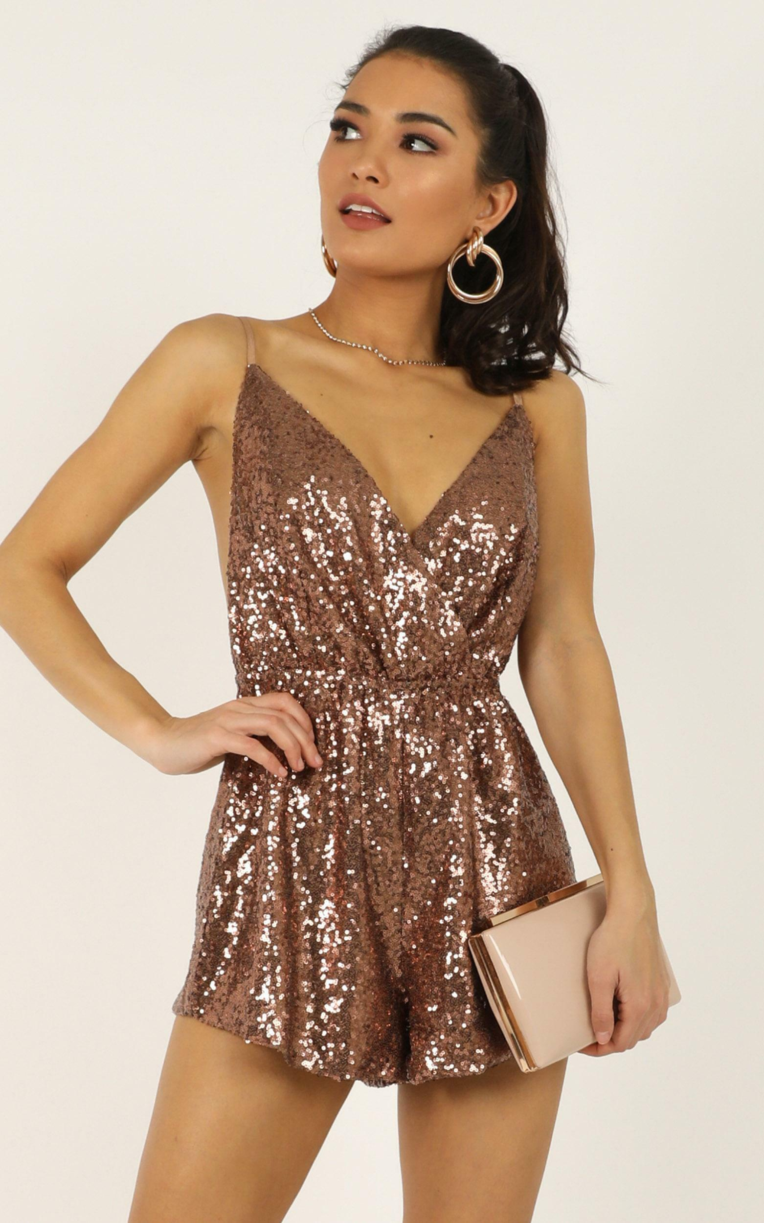 Feeling Hella Cool Tonight Playsuit in copper - 12 (L), Brown, hi-res image number null
