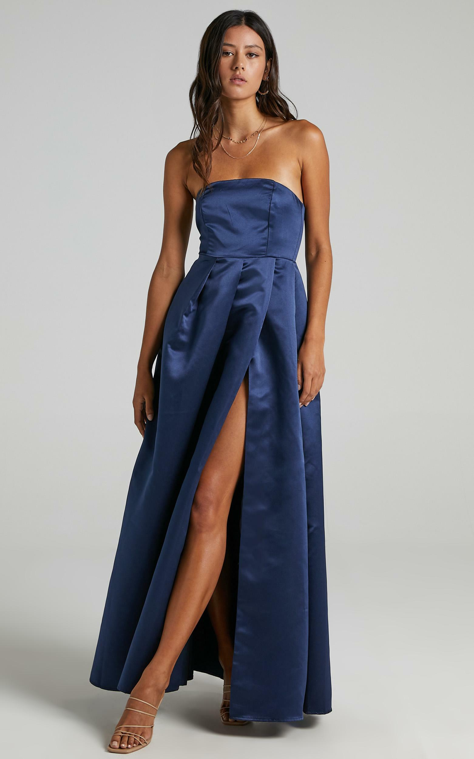 Queen Of The Show Dress in Navy Satin - 20, NVY2, hi-res image number null