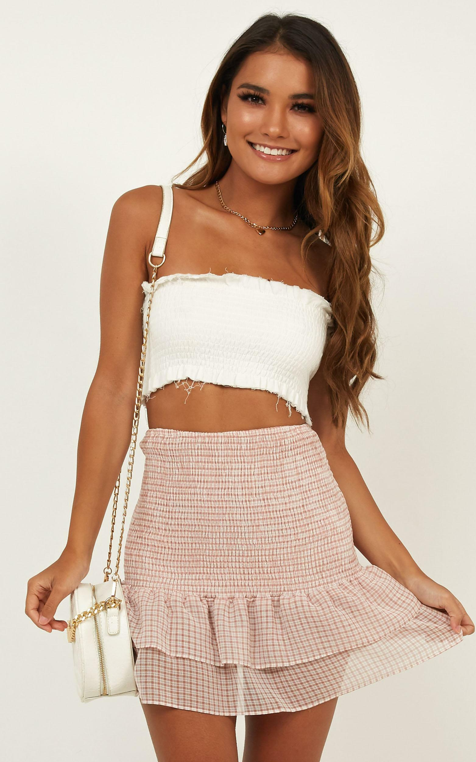 All the pretty girls skirt in blush gingham - 12 (L), Blush, hi-res image number null