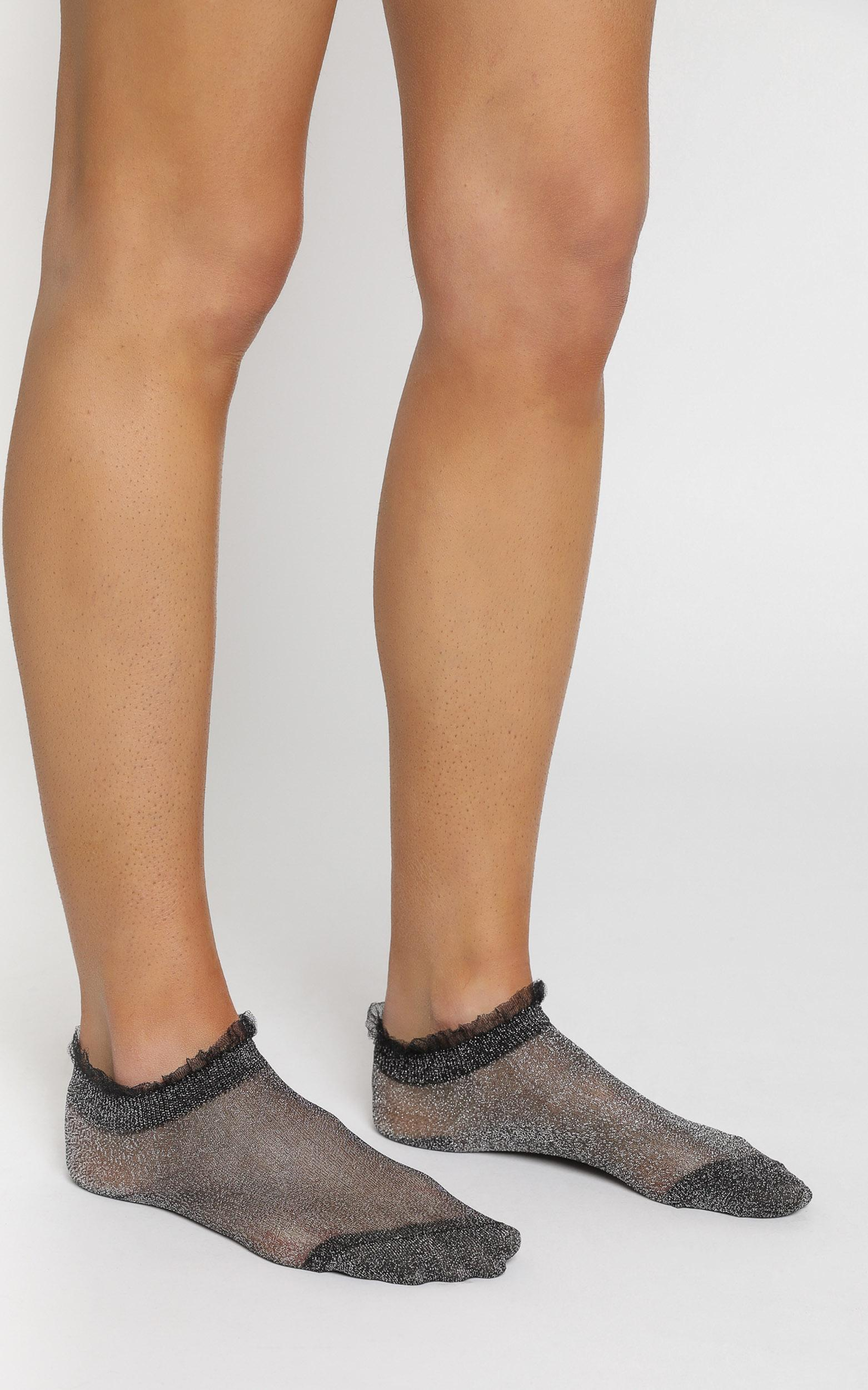 Lizzy Star Glitter Socks in Silver Black, , hi-res image number null