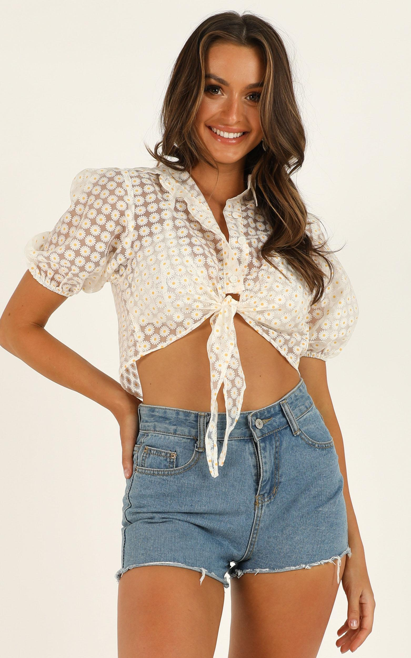 Sheer Pleasure top in white floral - 12 (L), White, hi-res image number null