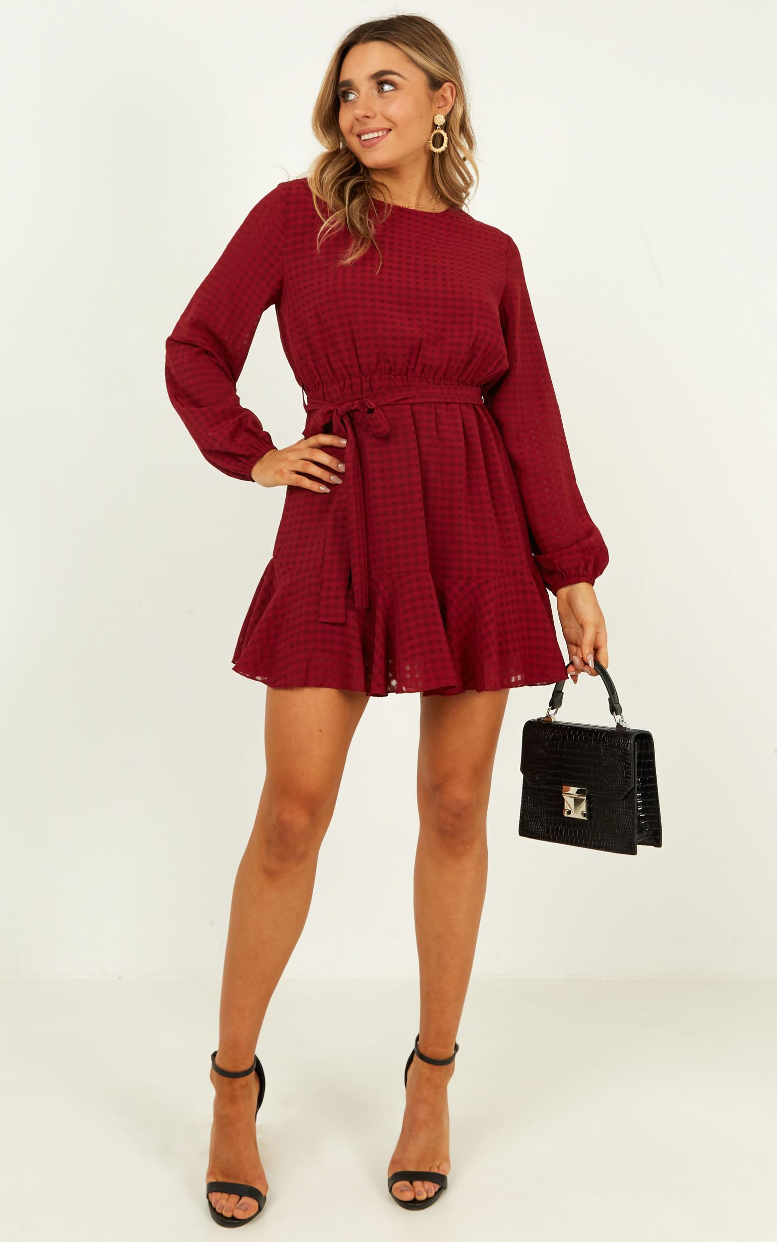 Streamline Dress in wine - 20 (XXXXL), Wine, hi-res image number null