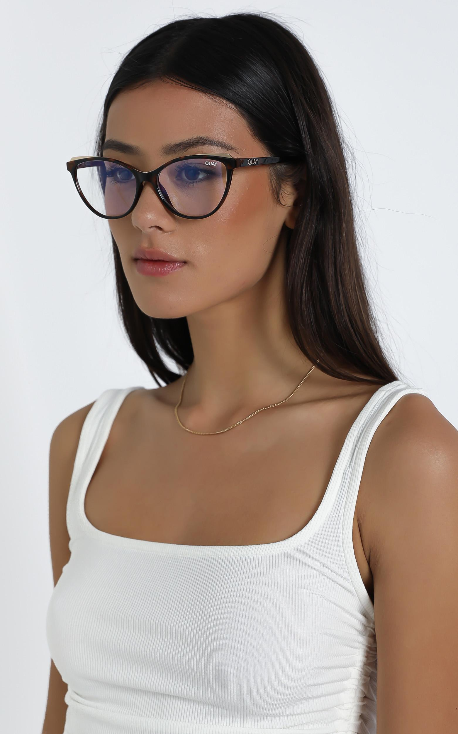 Quay - Please Advise Blue Light Glasses in Tort / Clear Blue, Brown, hi-res image number null