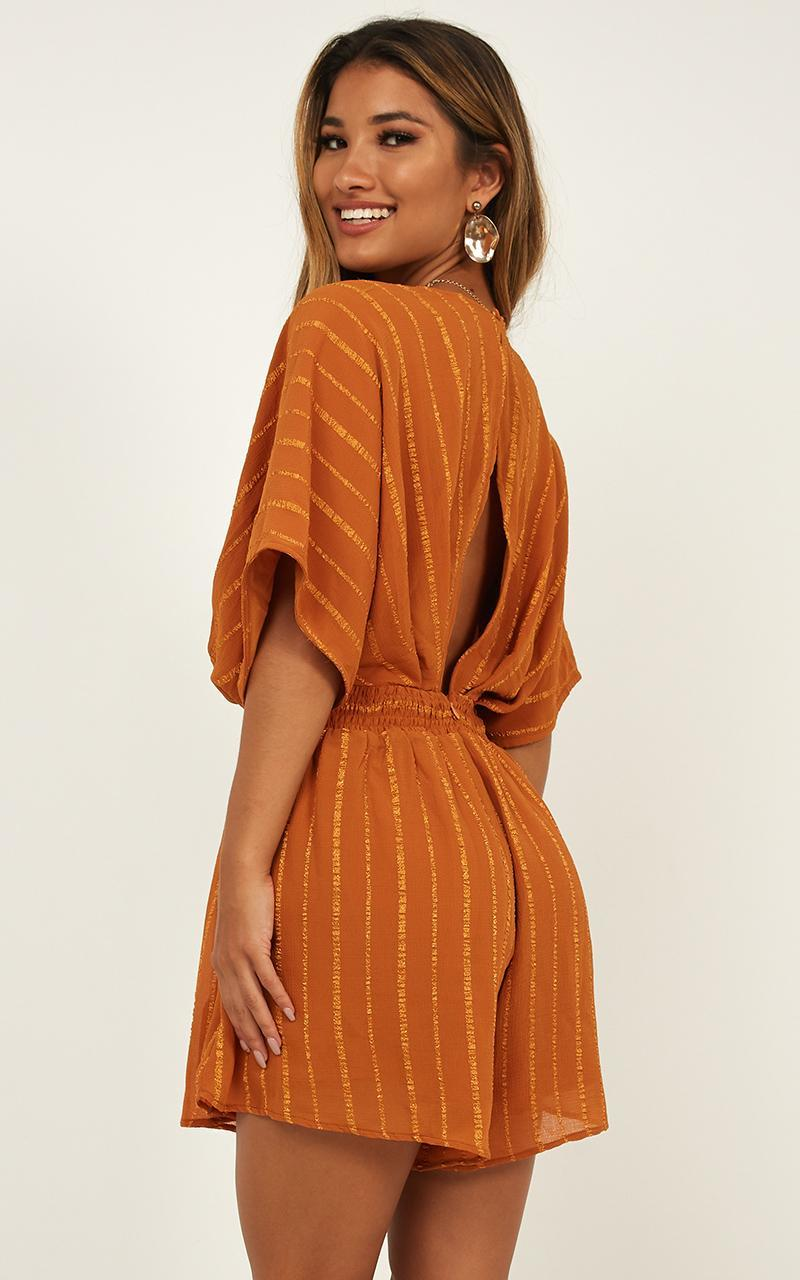 Charged Up Playsuit In rust self stripe - 12 (L), Mustard, hi-res image number null