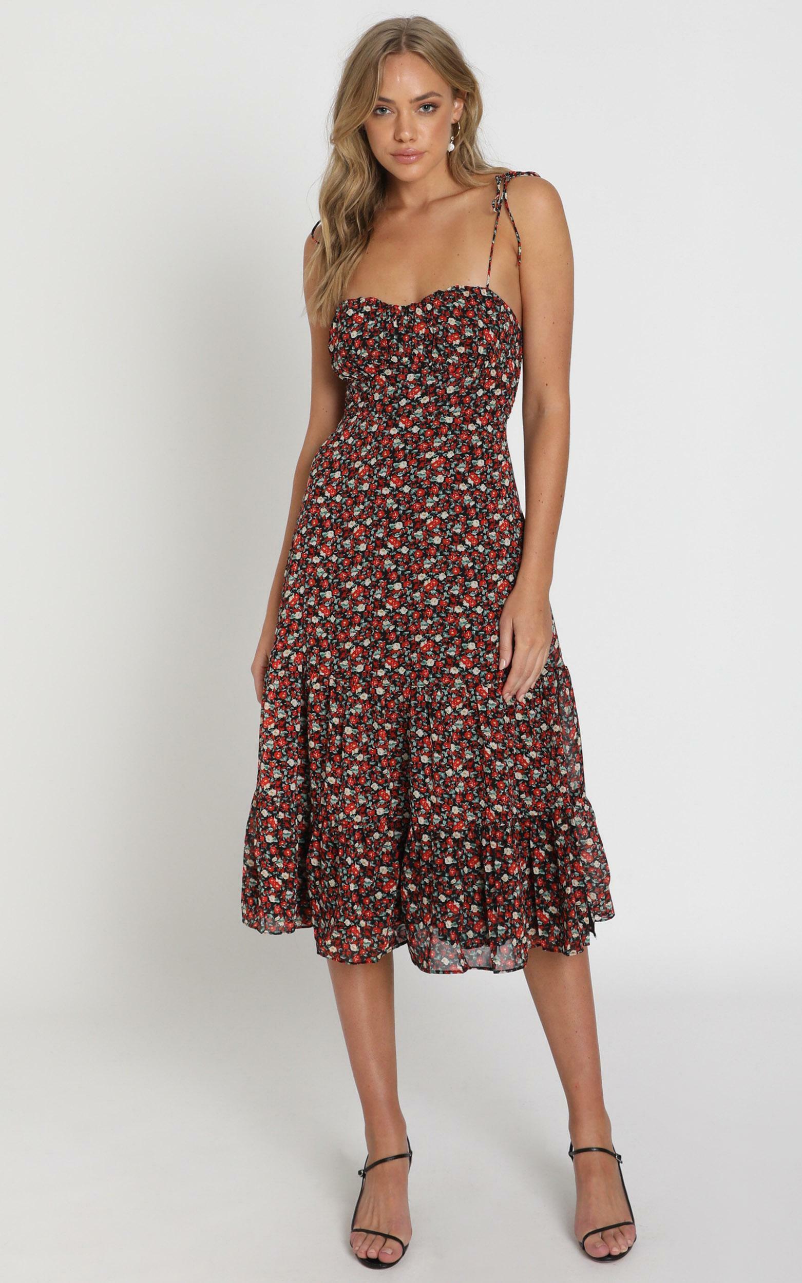 Monaco Dress in black floral - 20 (XXXXL), Black, hi-res image number null