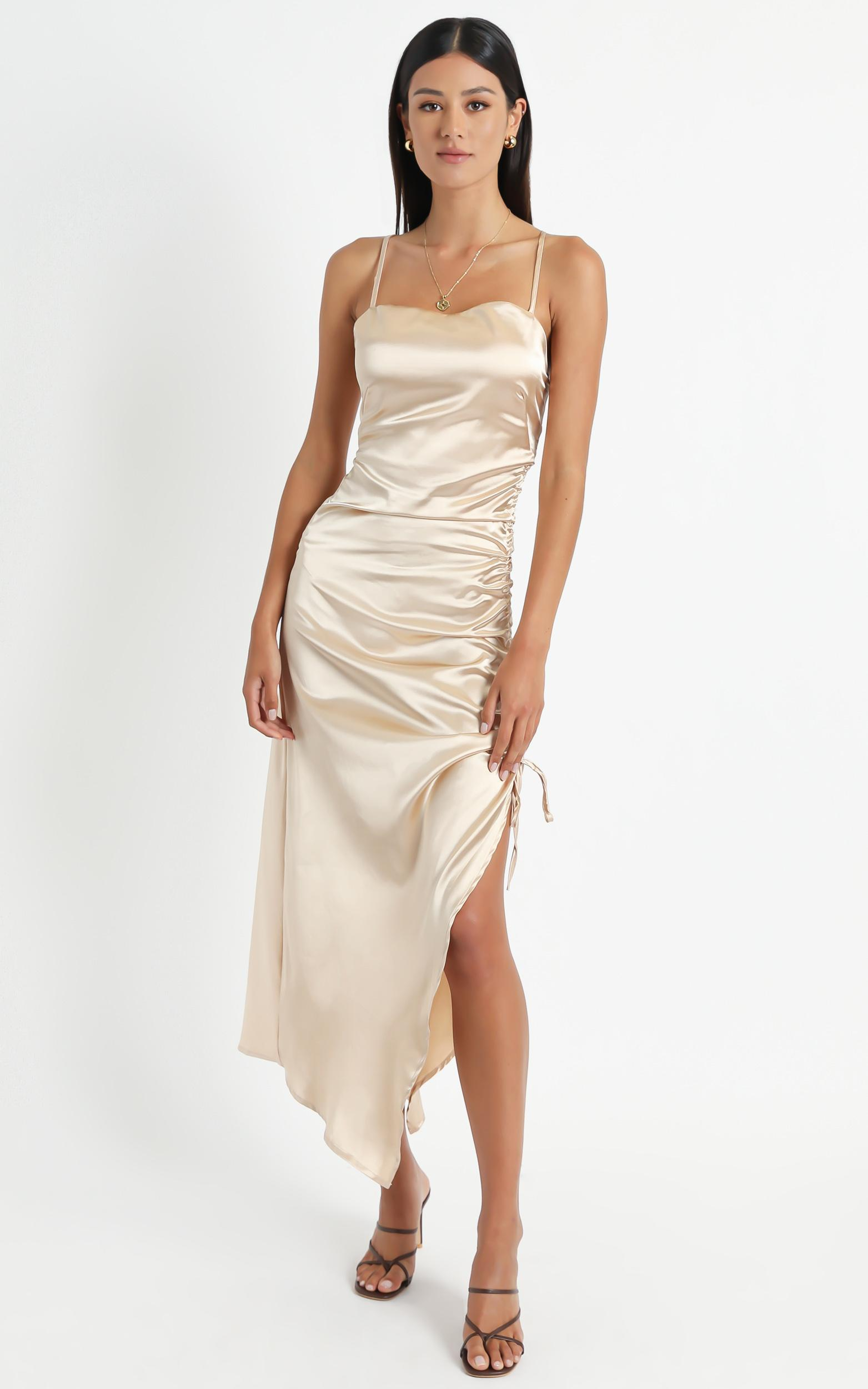 Dove Dress In Champagne Satin - 8 (S), NEU1, hi-res image number null