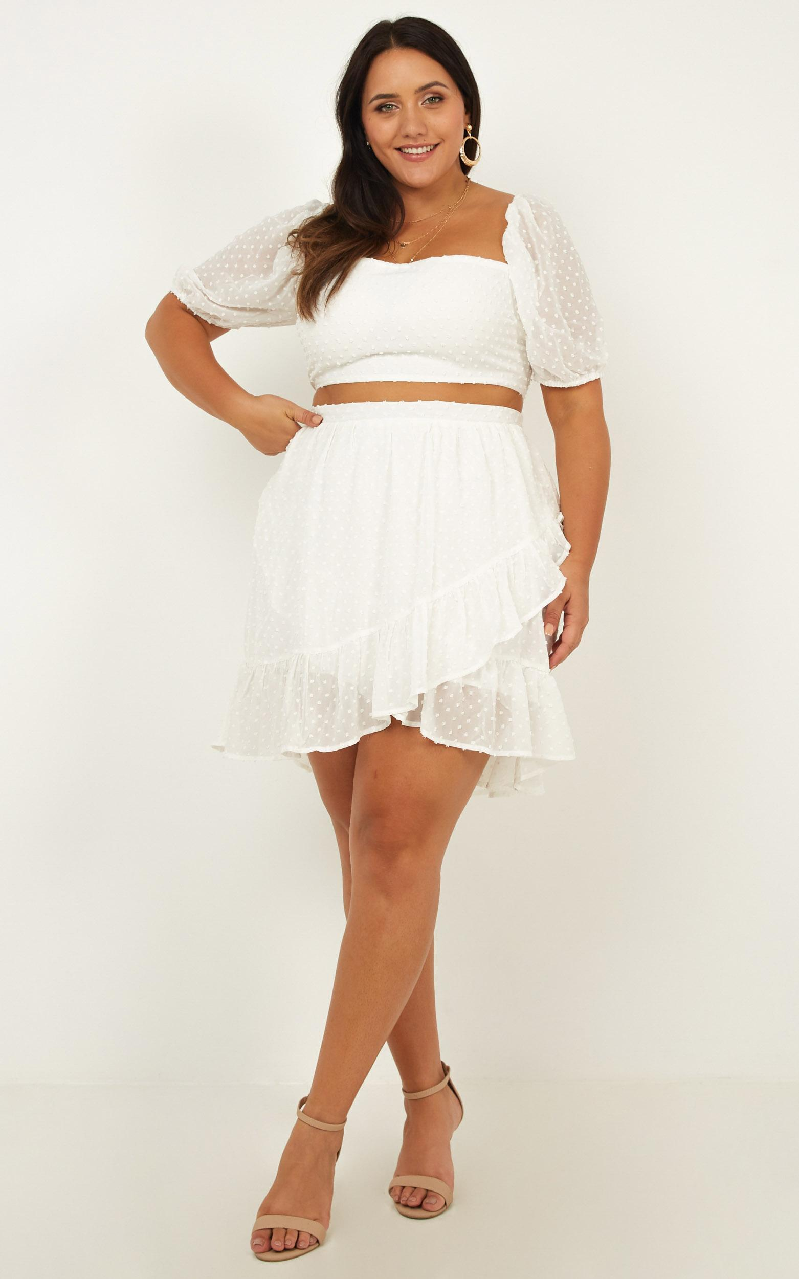 Forever Two Piece Set in white dobby, White, hi-res image number null