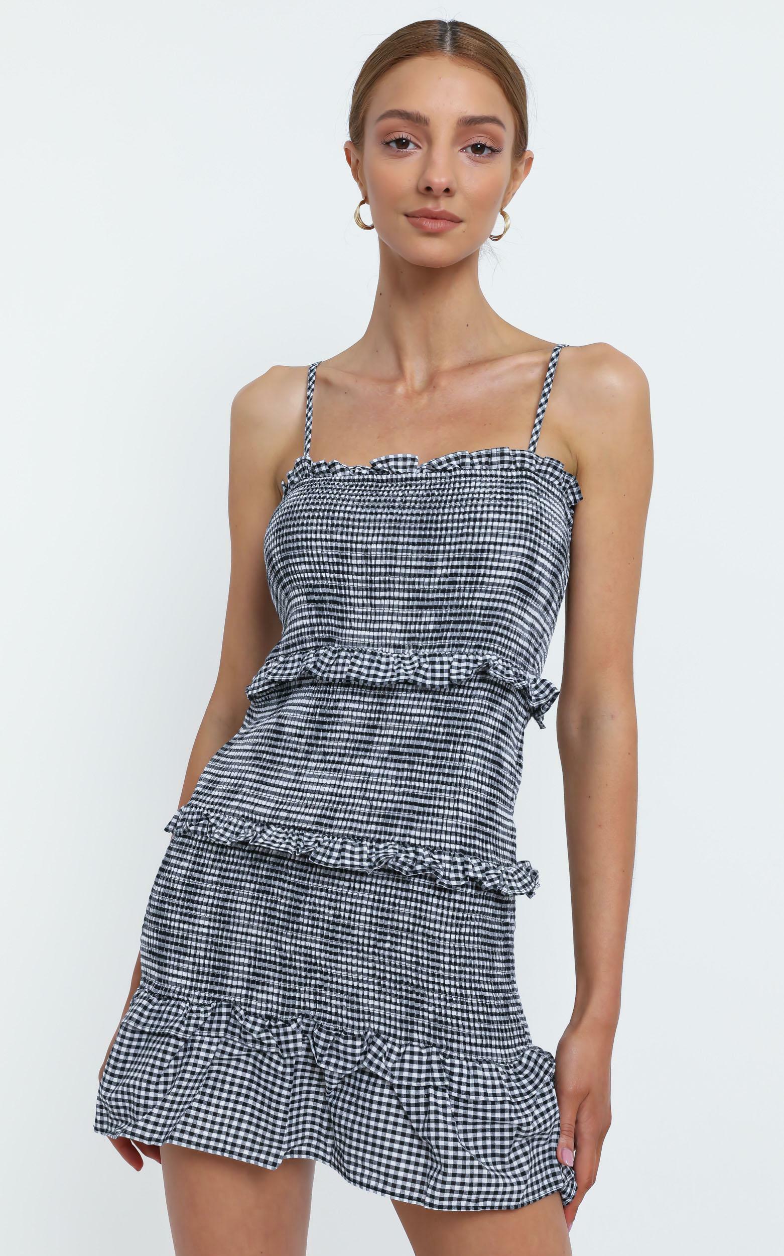 Brooke Dress in Black Check - 12 (L), Black, hi-res image number null