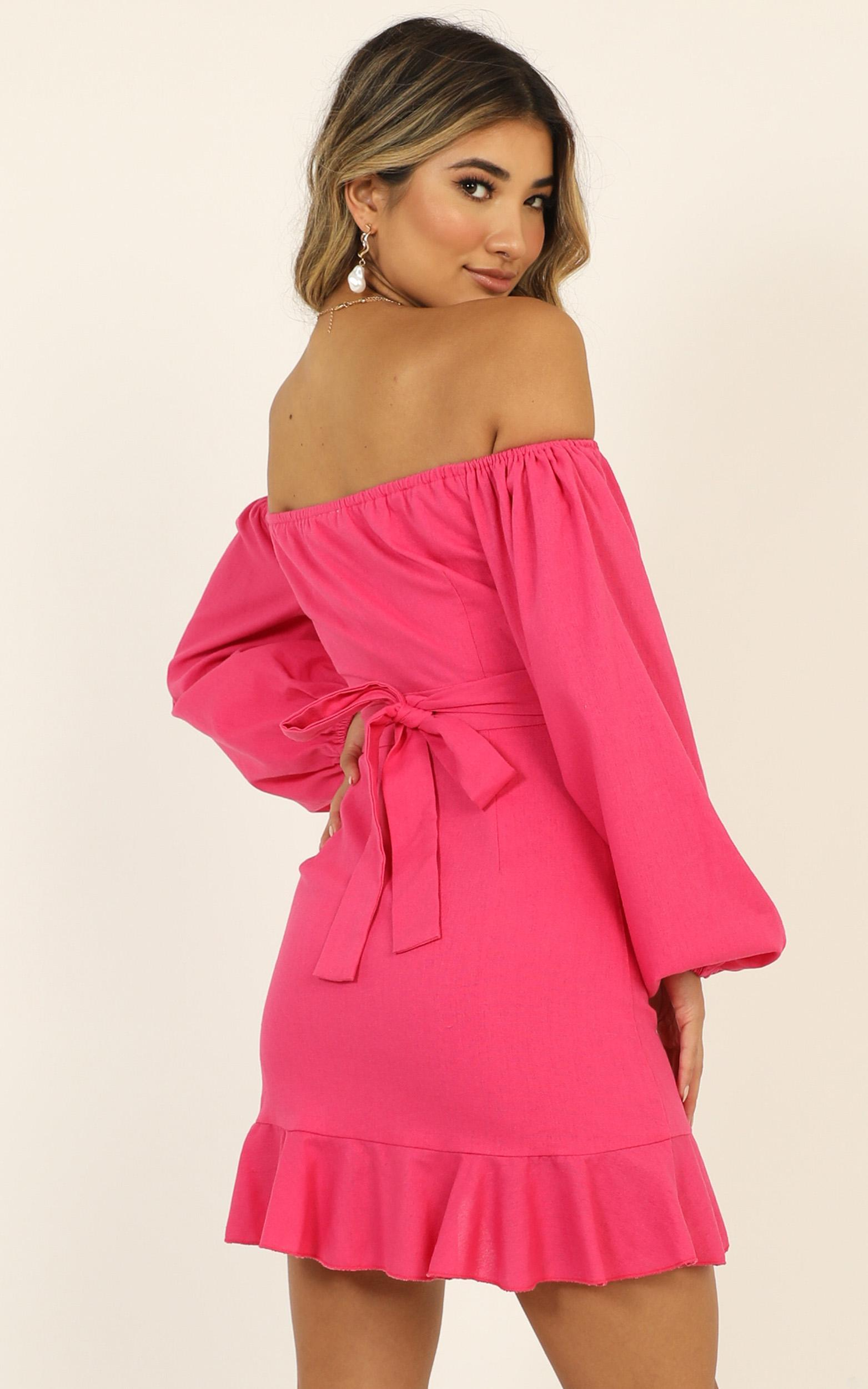 Cant Move On Dress in hot pink linen look - 20 (XXXXL), Pink, hi-res image number null