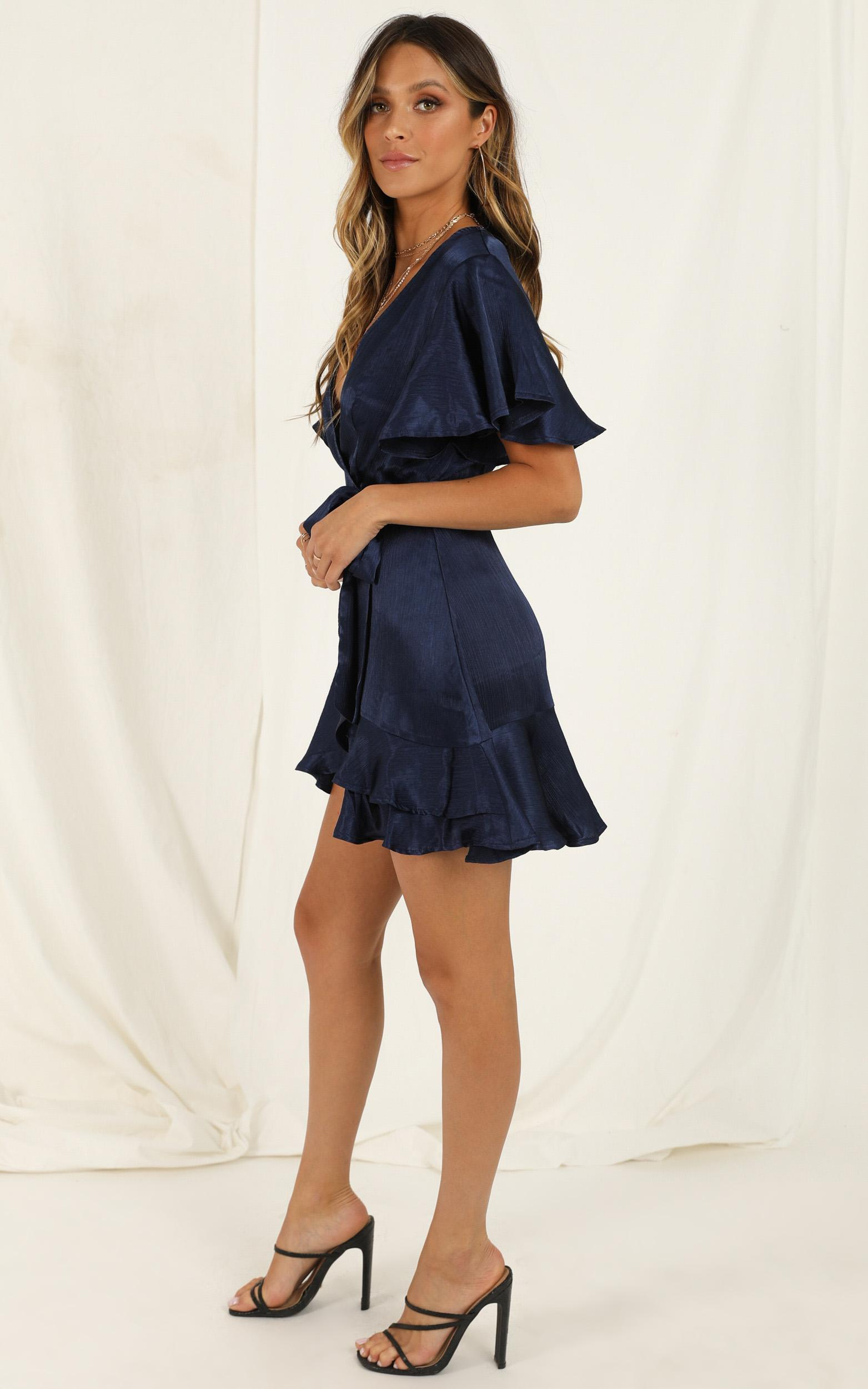 All I Want To Be Dress in navy satin - 20 (XXXXL), Navy, hi-res image number null