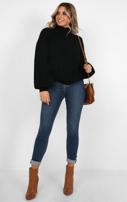 I Feel Love Oversized Knit Jumper In Black, Black, hi-res image number null