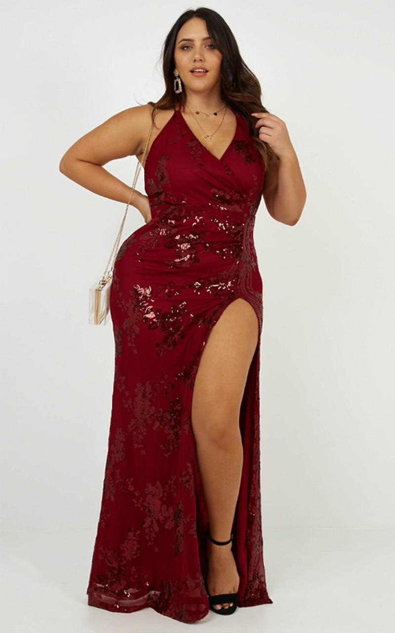Out Till Dawn Dress In Wine Sequin - 4 (XXS), Wine, hi-res image number null