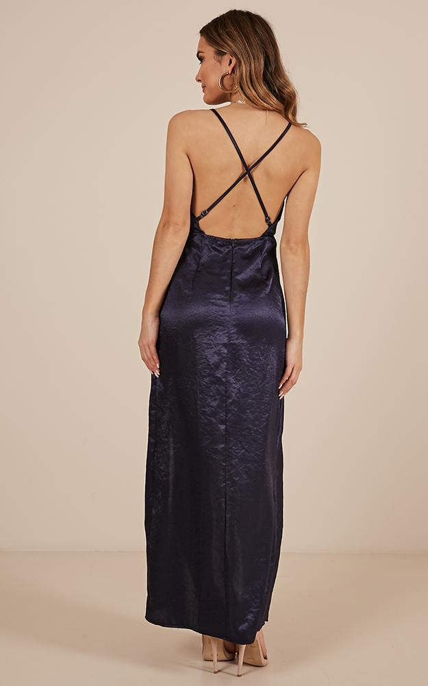 Up All Night dress in navy satin - 12 (L), Navy, hi-res image number null