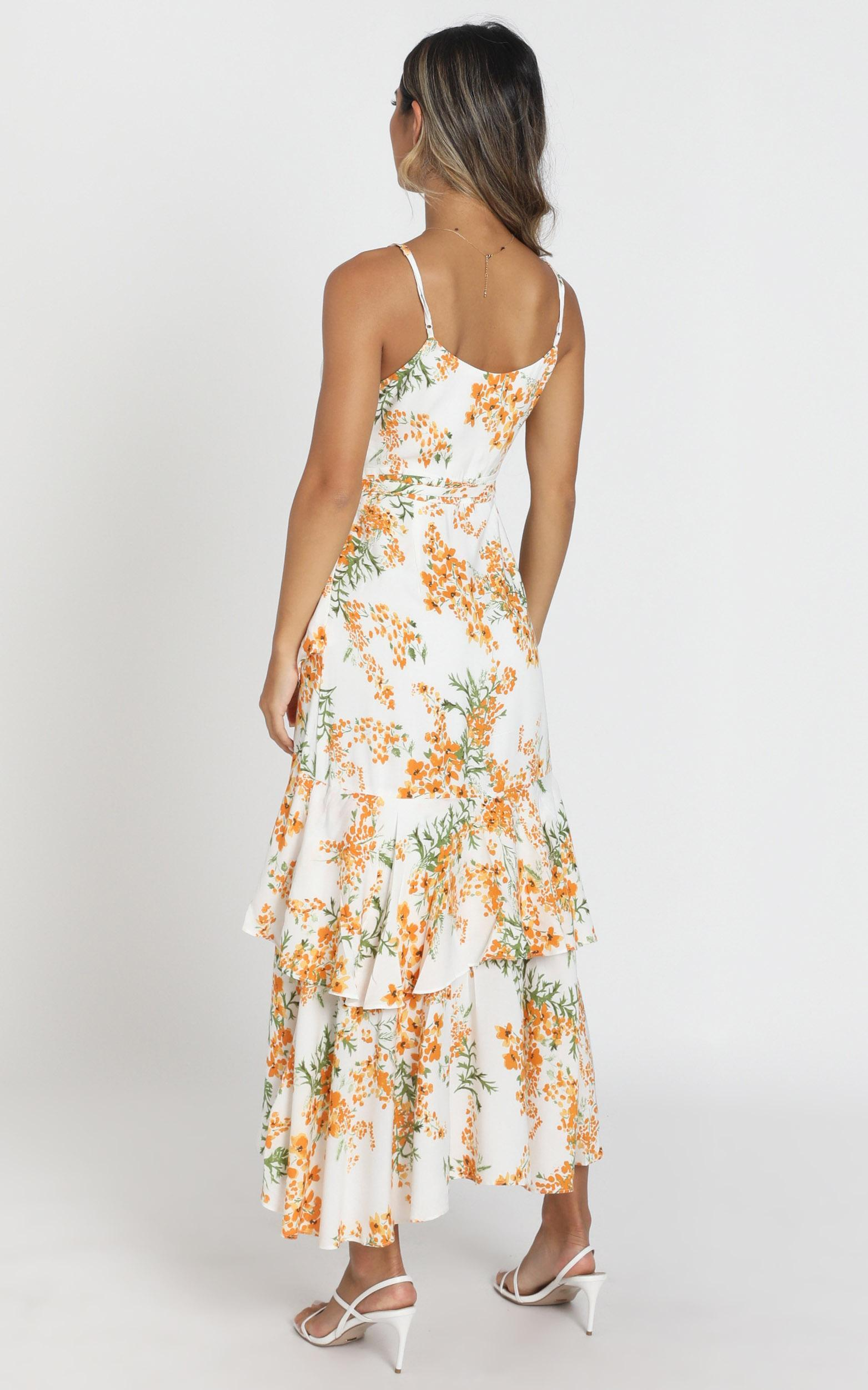 Jaclyn Wrap Midi Dress in white floral - 6 (XS), White, hi-res image number null