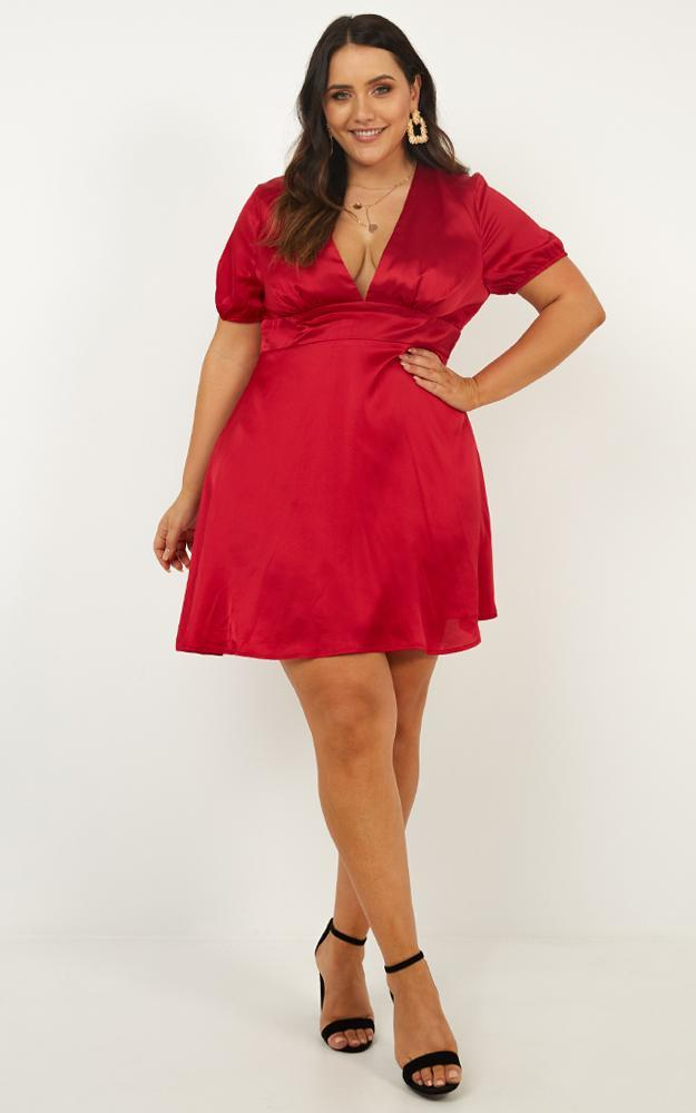Youre My Type Dress in red satin - 20 (XXXXL), Red, hi-res image number null
