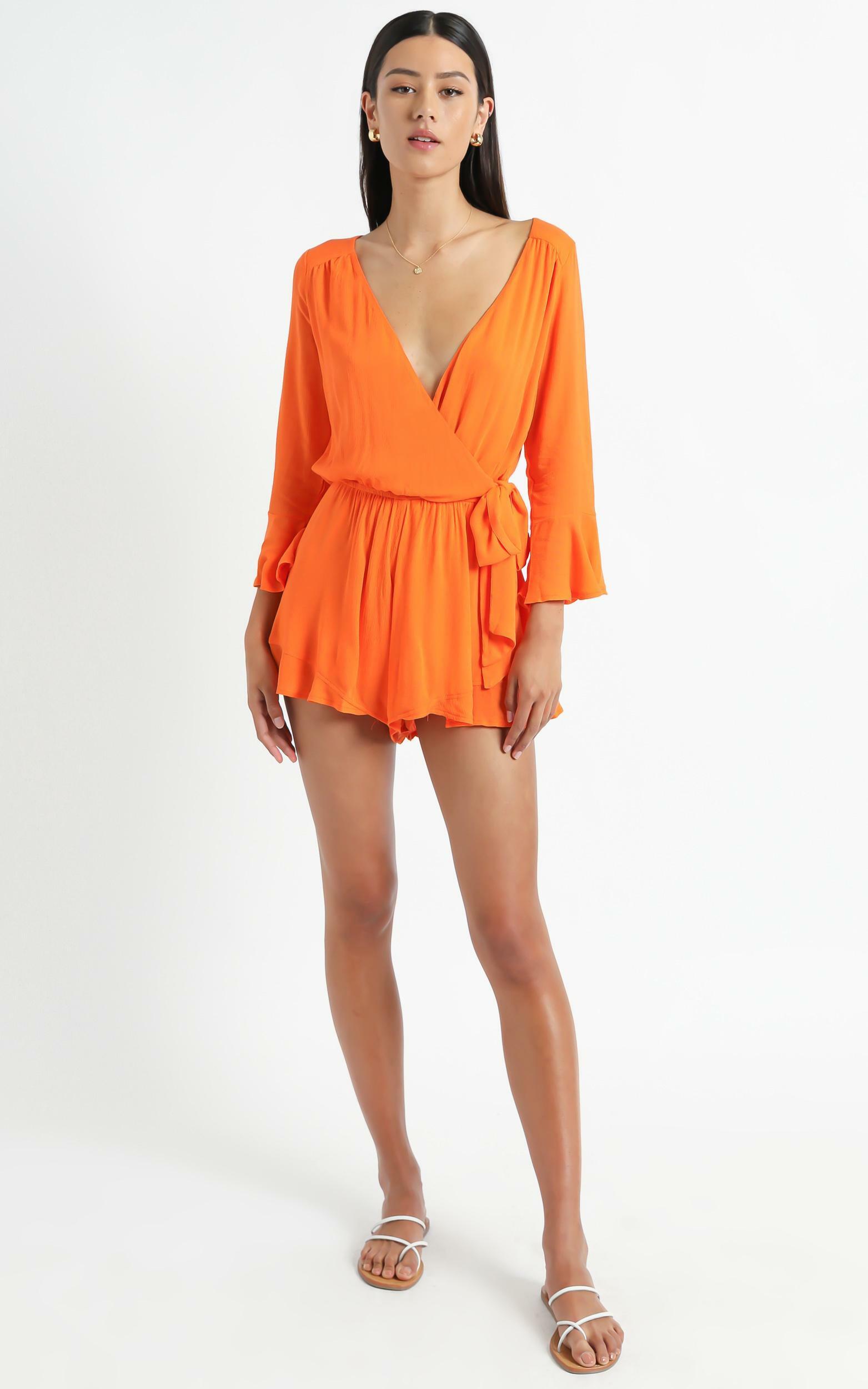 Sunday Breeze Playsuit In Tangerine Linen Look - 4 (XXS), Orange, hi-res image number null