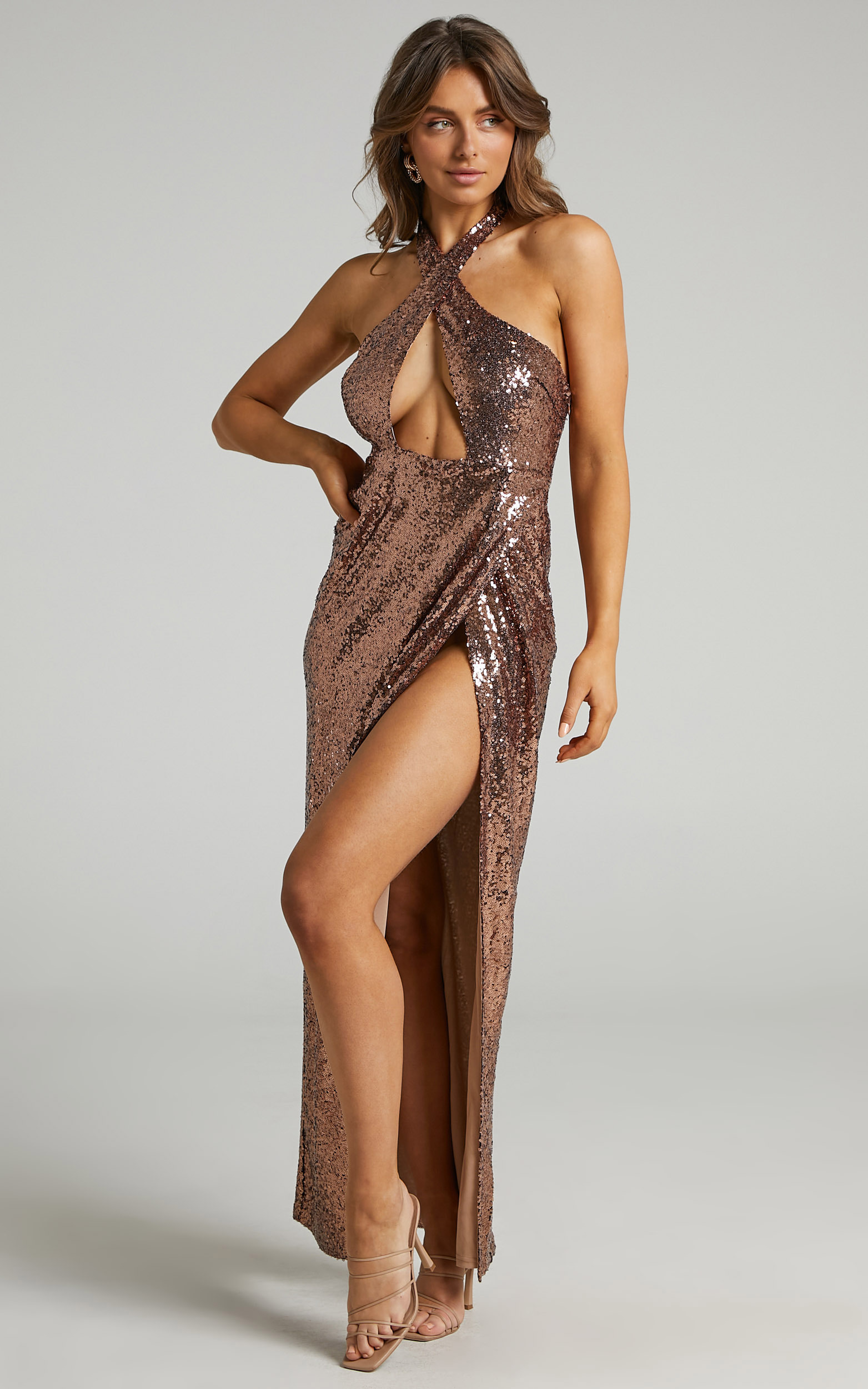 Cansas Halterneck Cut Out Maxi Dress in Chocolate Sequin - 06, BRN1, hi-res image number null