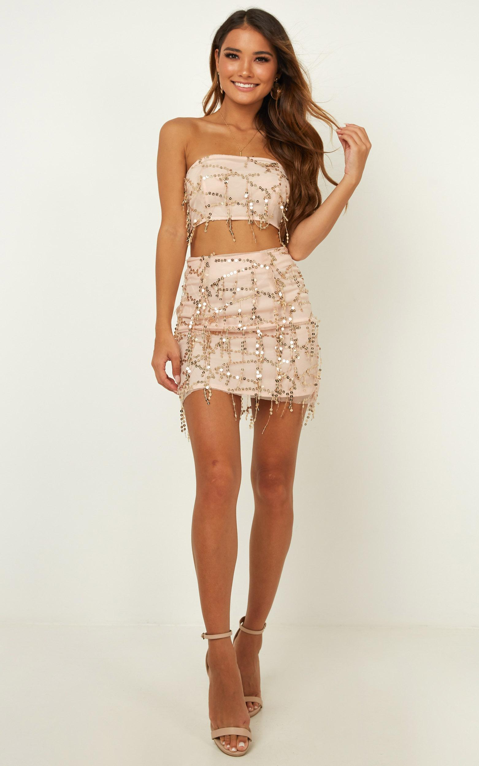 Electric Body Two Piece Set in gold sequins - 12 (L), Gold, hi-res image number null