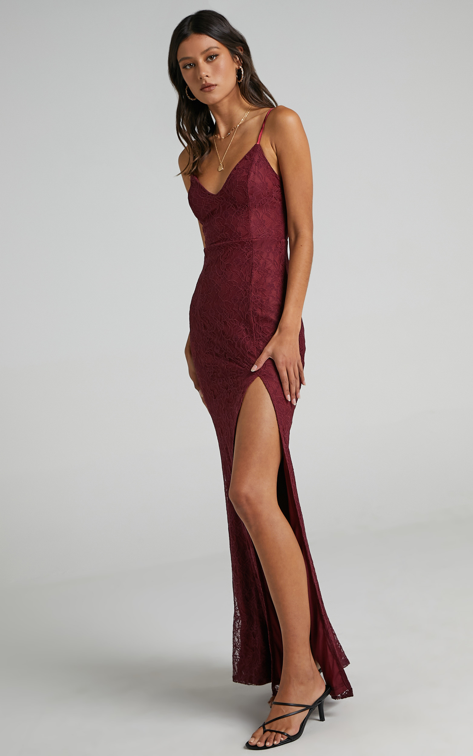 Always Extra Split Maxi Dress in Wine Lace - 20, WNE5, hi-res image number null