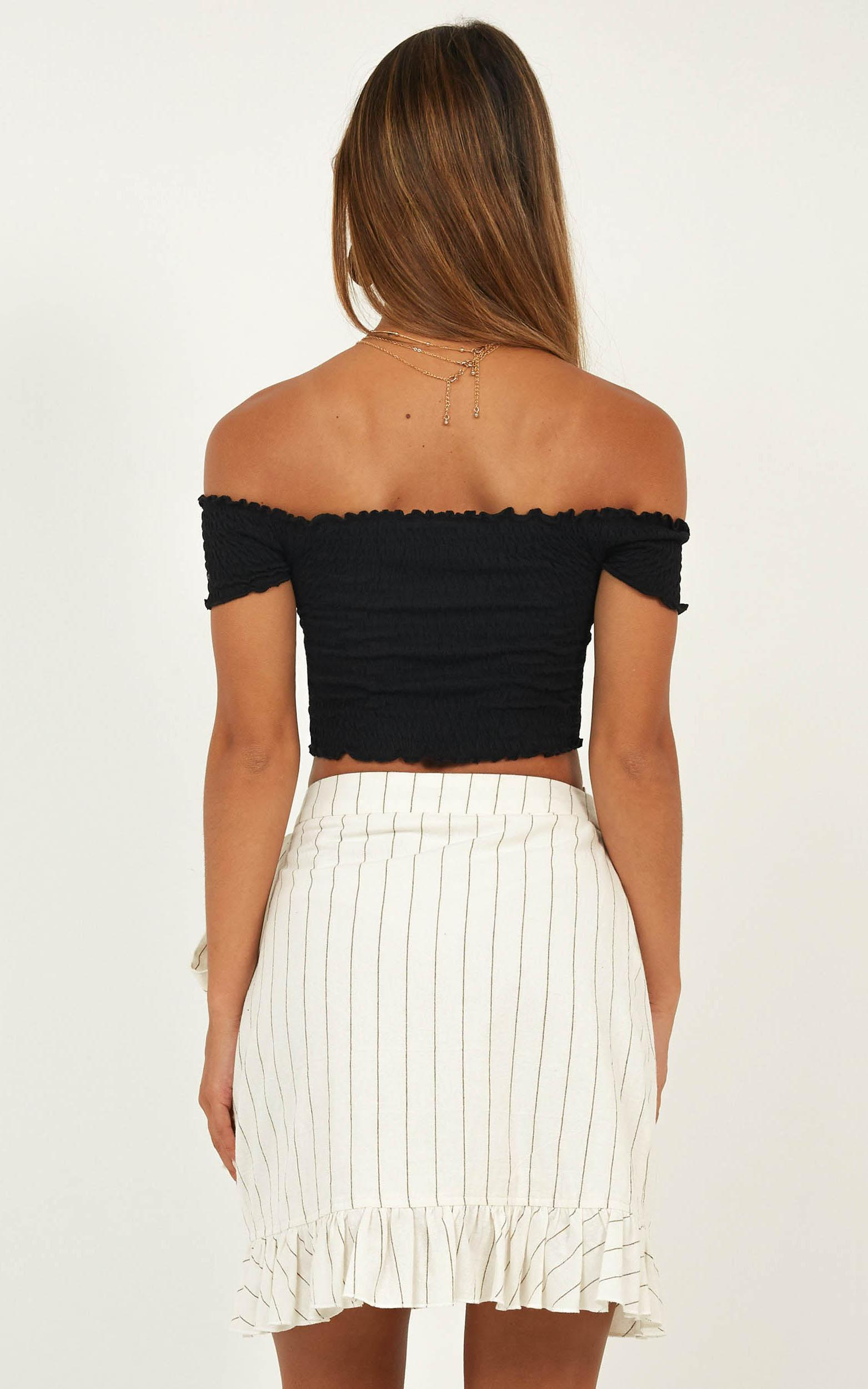 Frilling Times Skirt in white stripe linen look - 12 (L), White, hi-res image number null