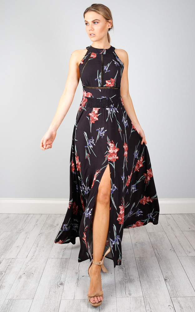 Run Alone maxi dress in black tropical floral - 6 (XS), BLK1, hi-res image number null